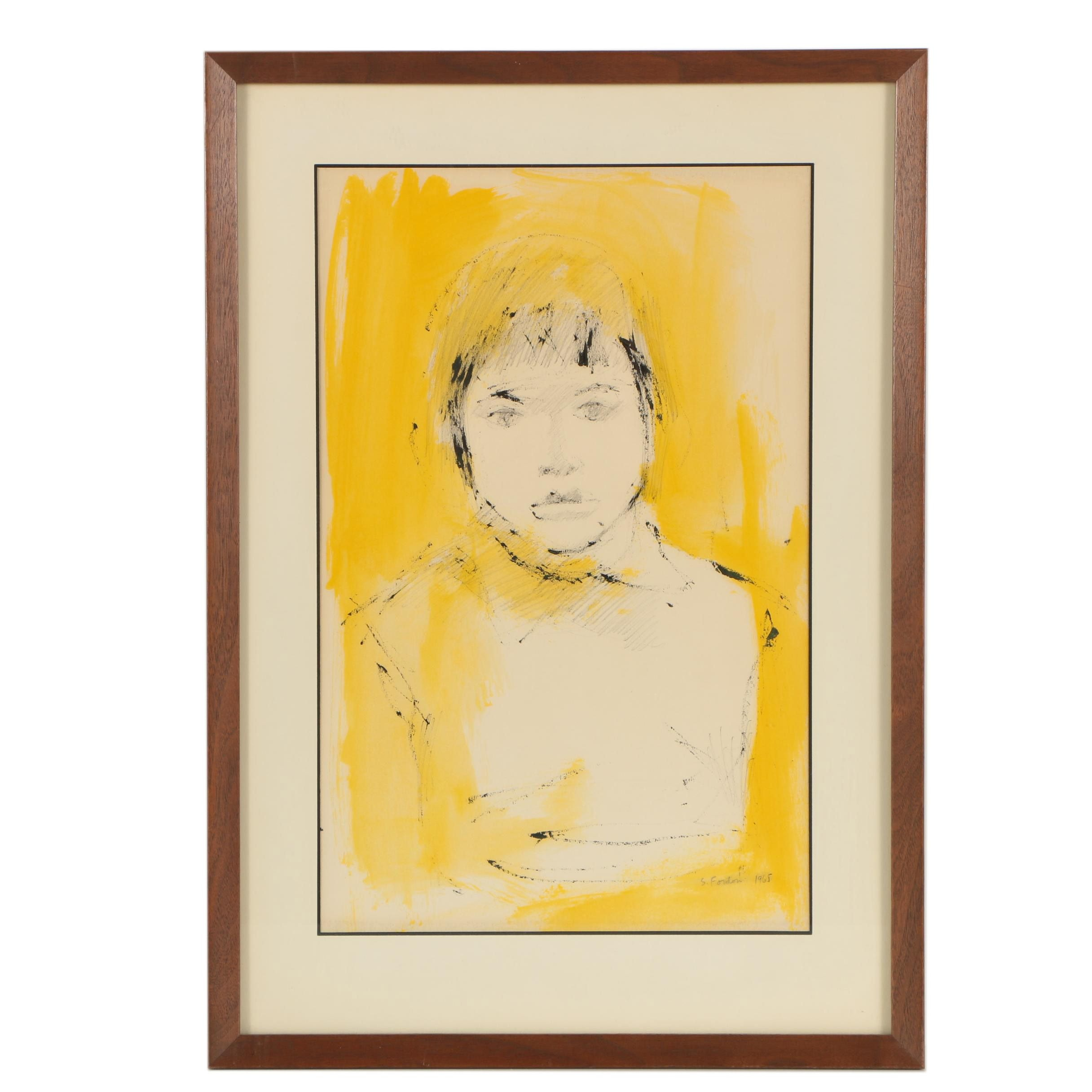 "Sophie Fordon 1965 Mixed Media Illustration ""Yellow Portrait"""