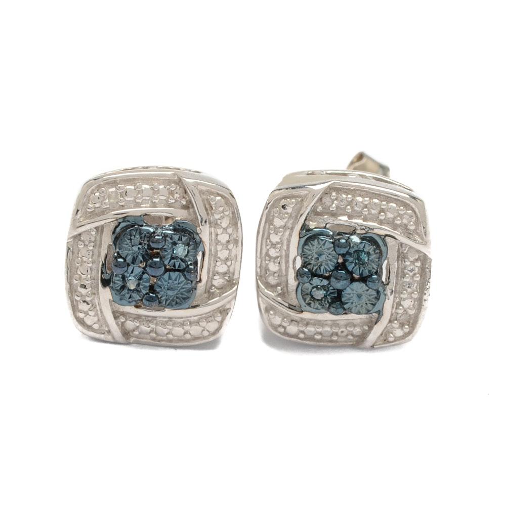 Sterling Silver Blue Diamond Earrings