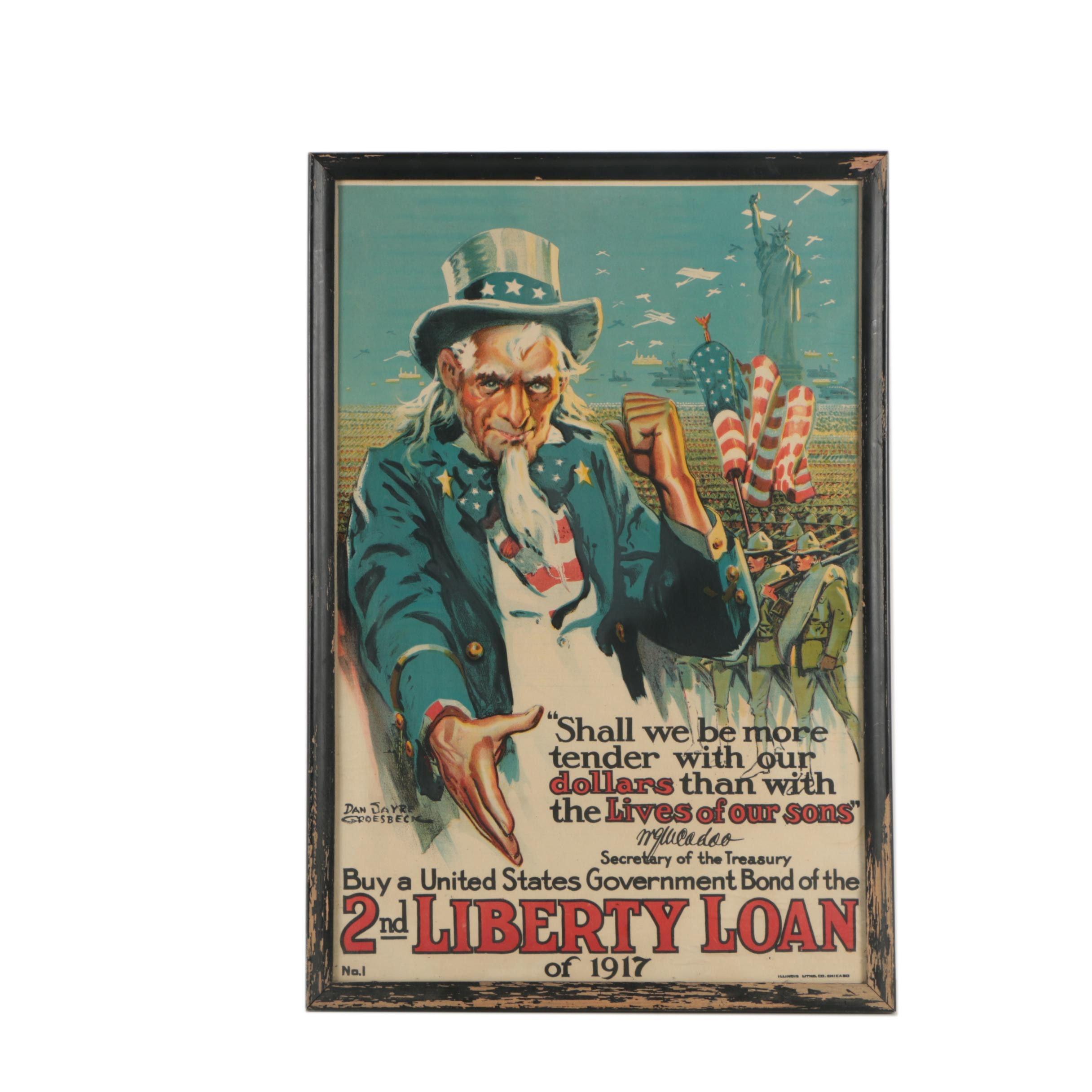 Dan Sayre Groesbeck WWI Lithograph Poster