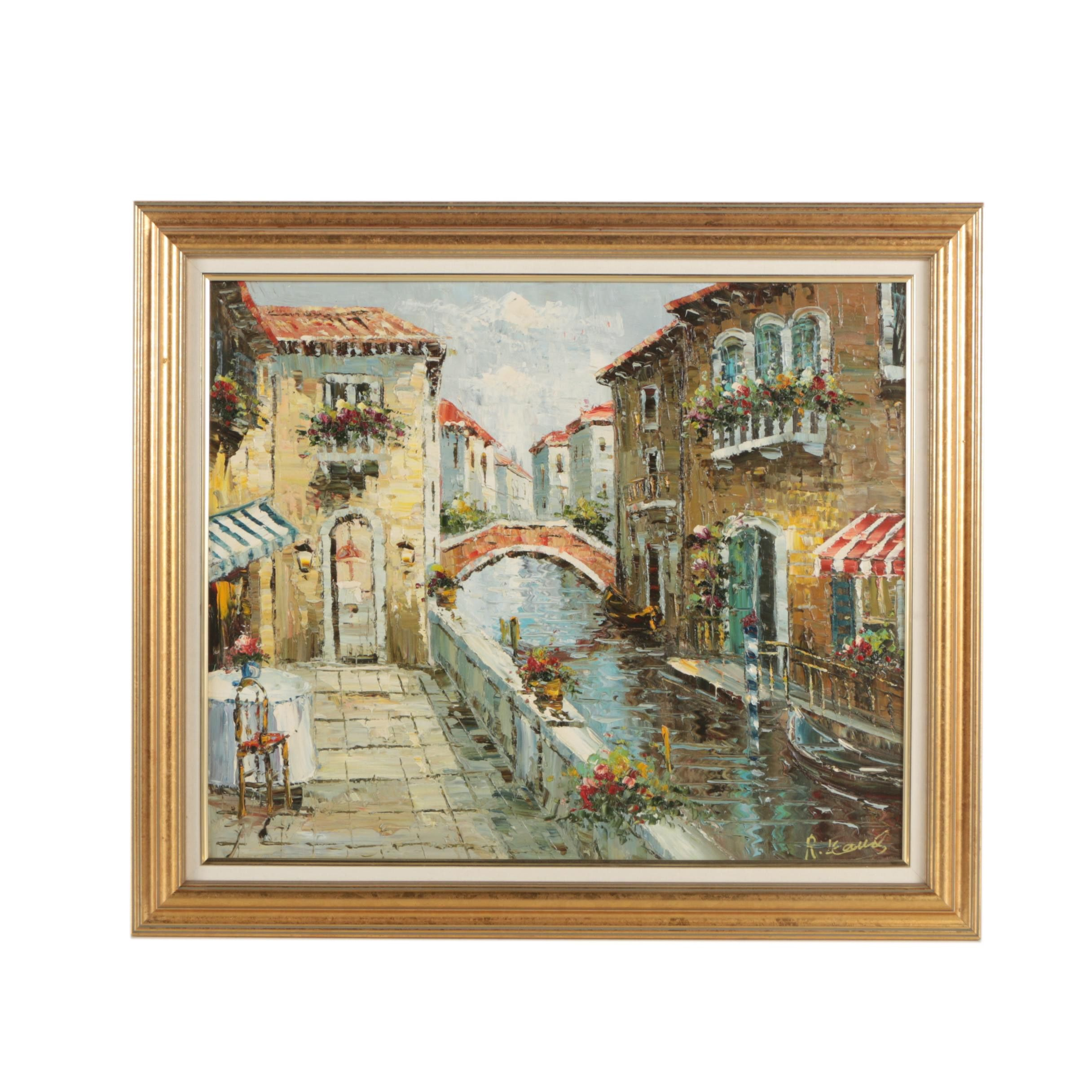 Late 20th-Century Oil Painting of Venetian Canal Scene