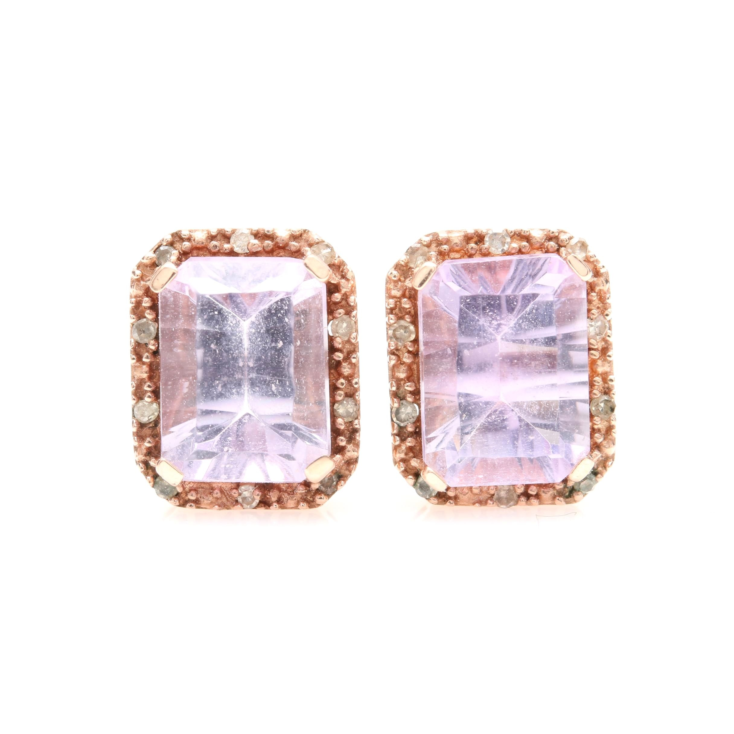 10K Rose Gold Amethyst and Diamond Stud Earrings