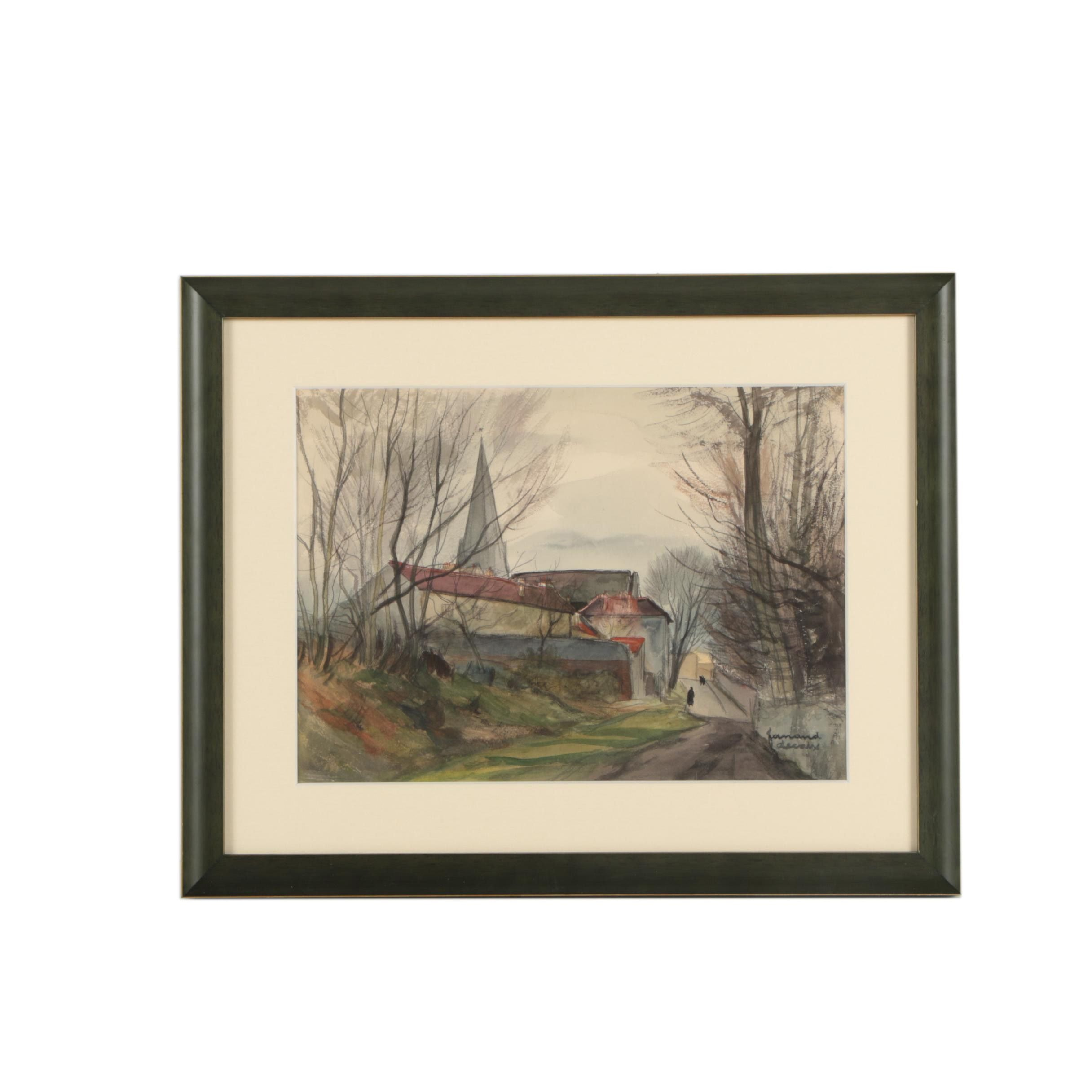 """Fernand Decaix Watercolor Painting """"Paysage de Campaigne"""""""