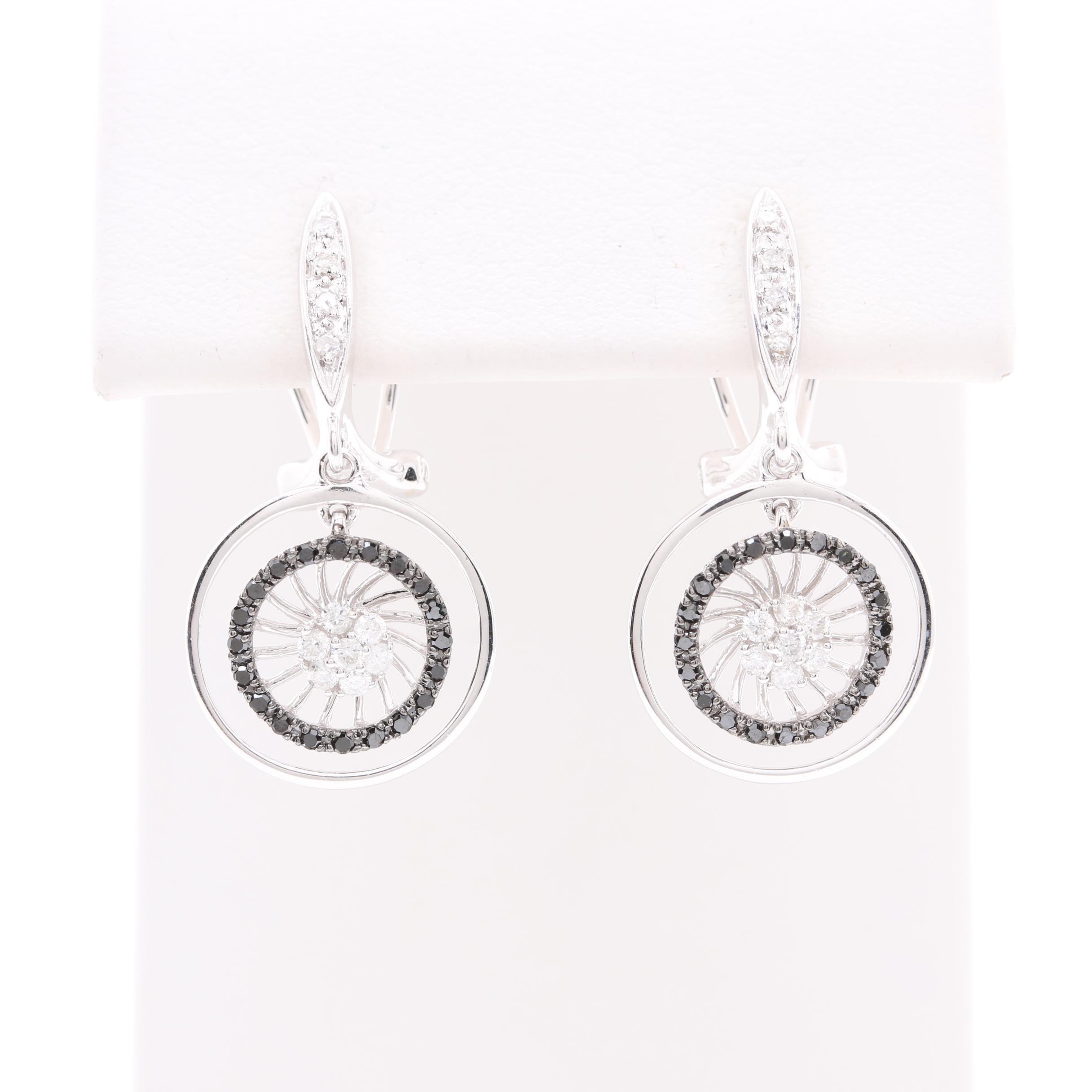 14K White Gold Diamond and Black Diamond Drop Earrings