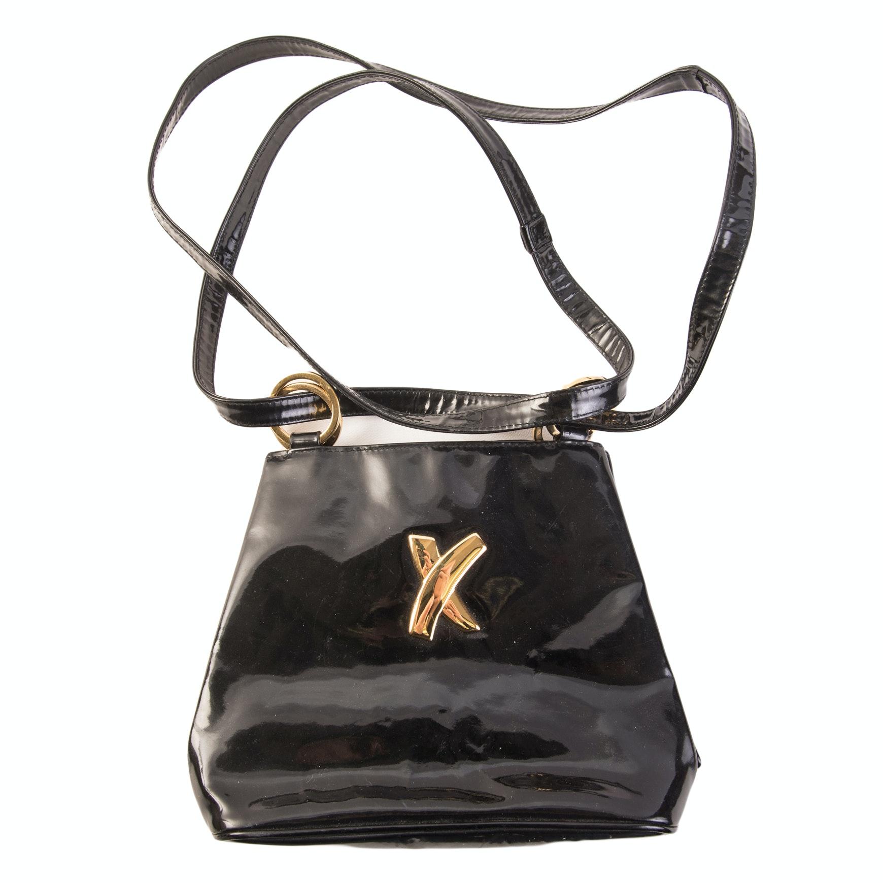 Vintage Paloma Picasso Black Patent Leather Handbag