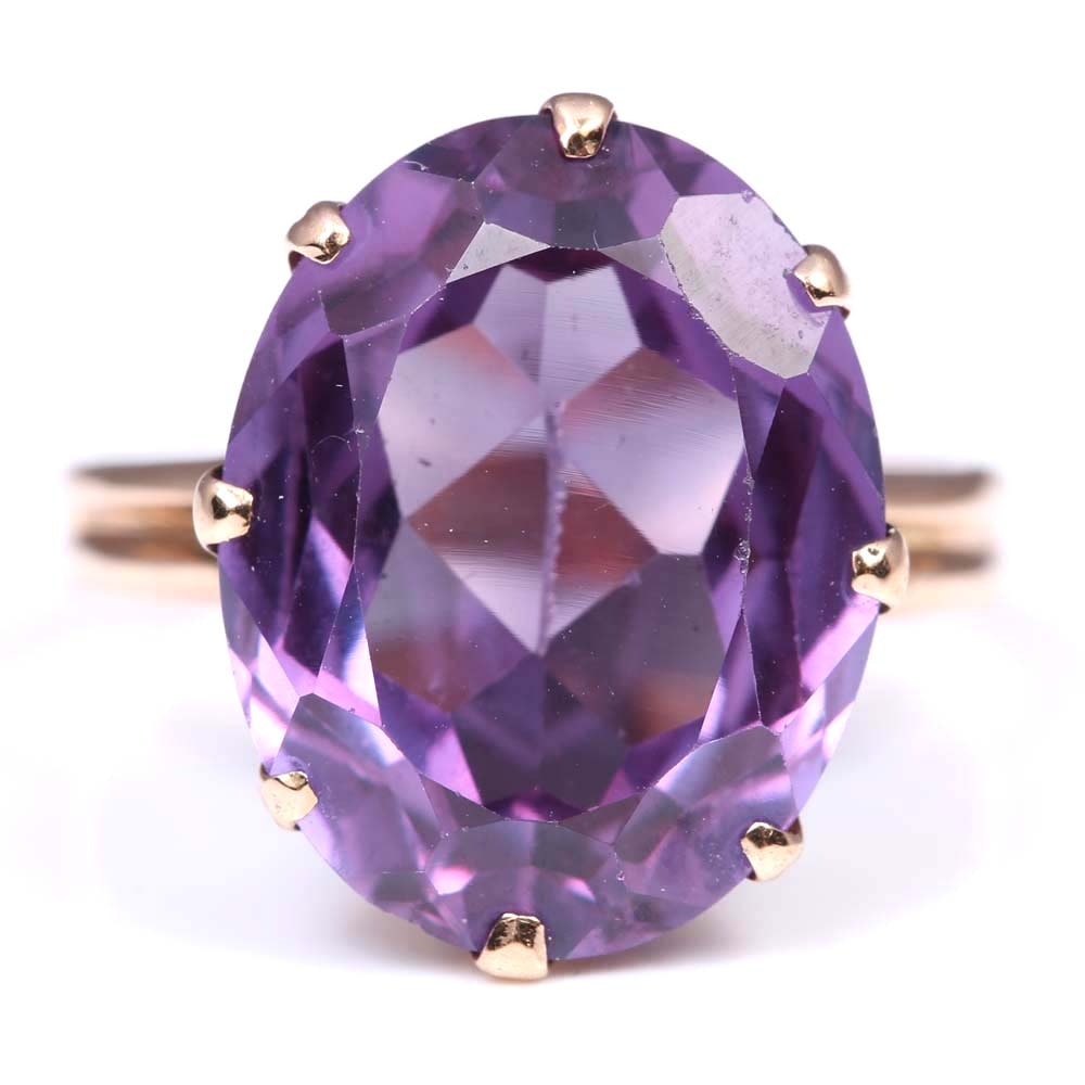 14K Yellow Gold 10.08 CT Synthetic Sapphire Ring