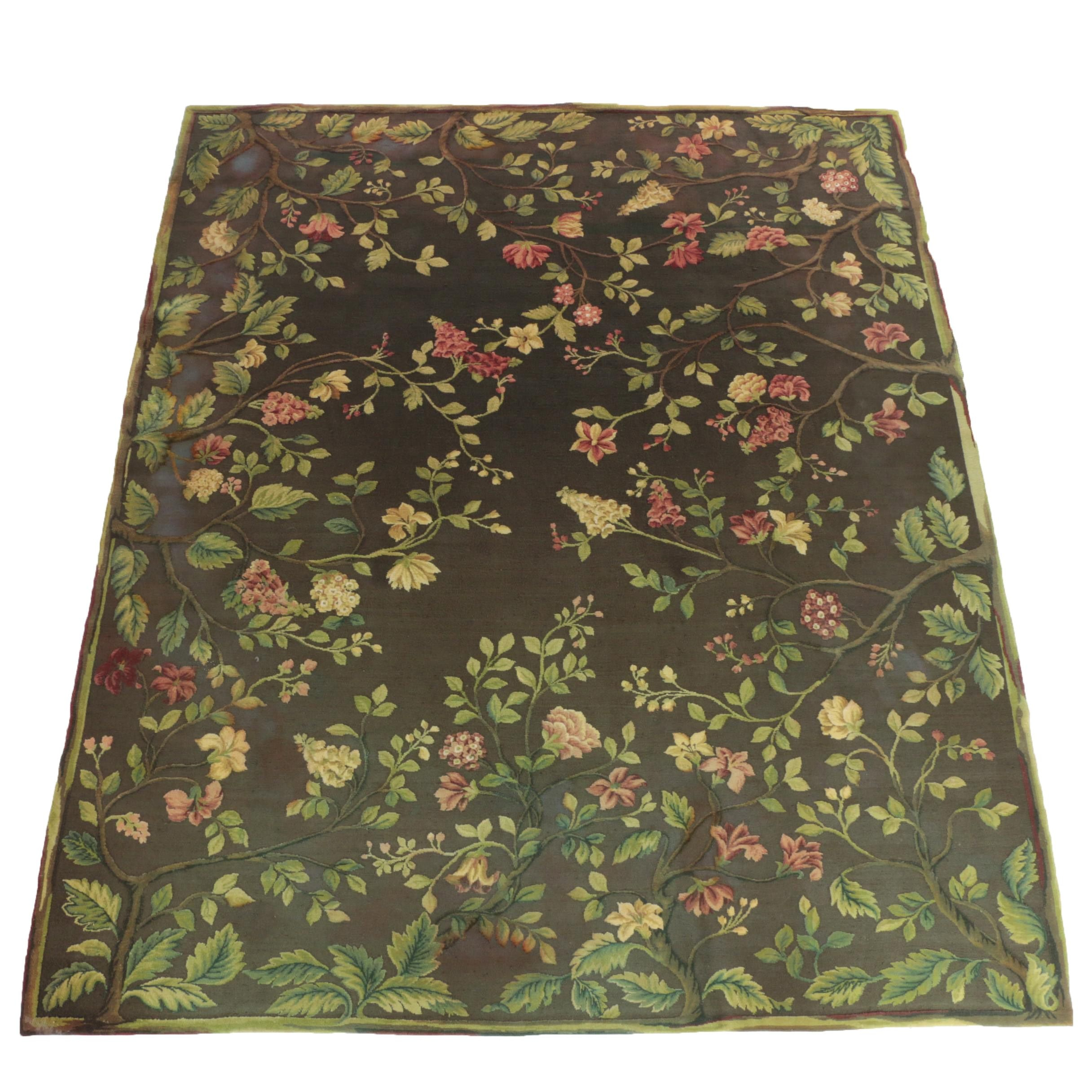 Woven Floral and Foliate Textured Wool Room Size Rug