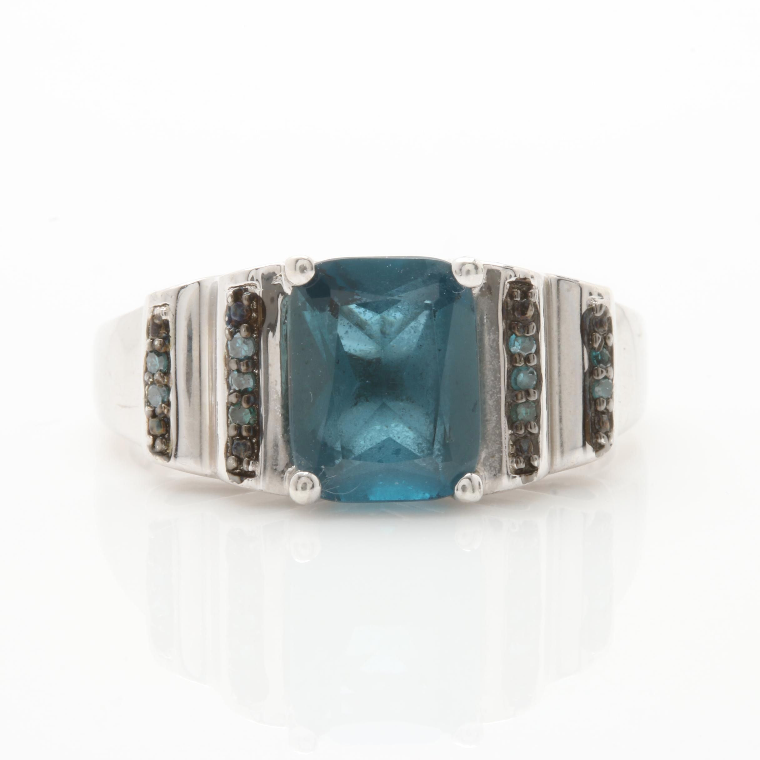 Sterling Silver Blue Topaz and Blue Diamond Ring