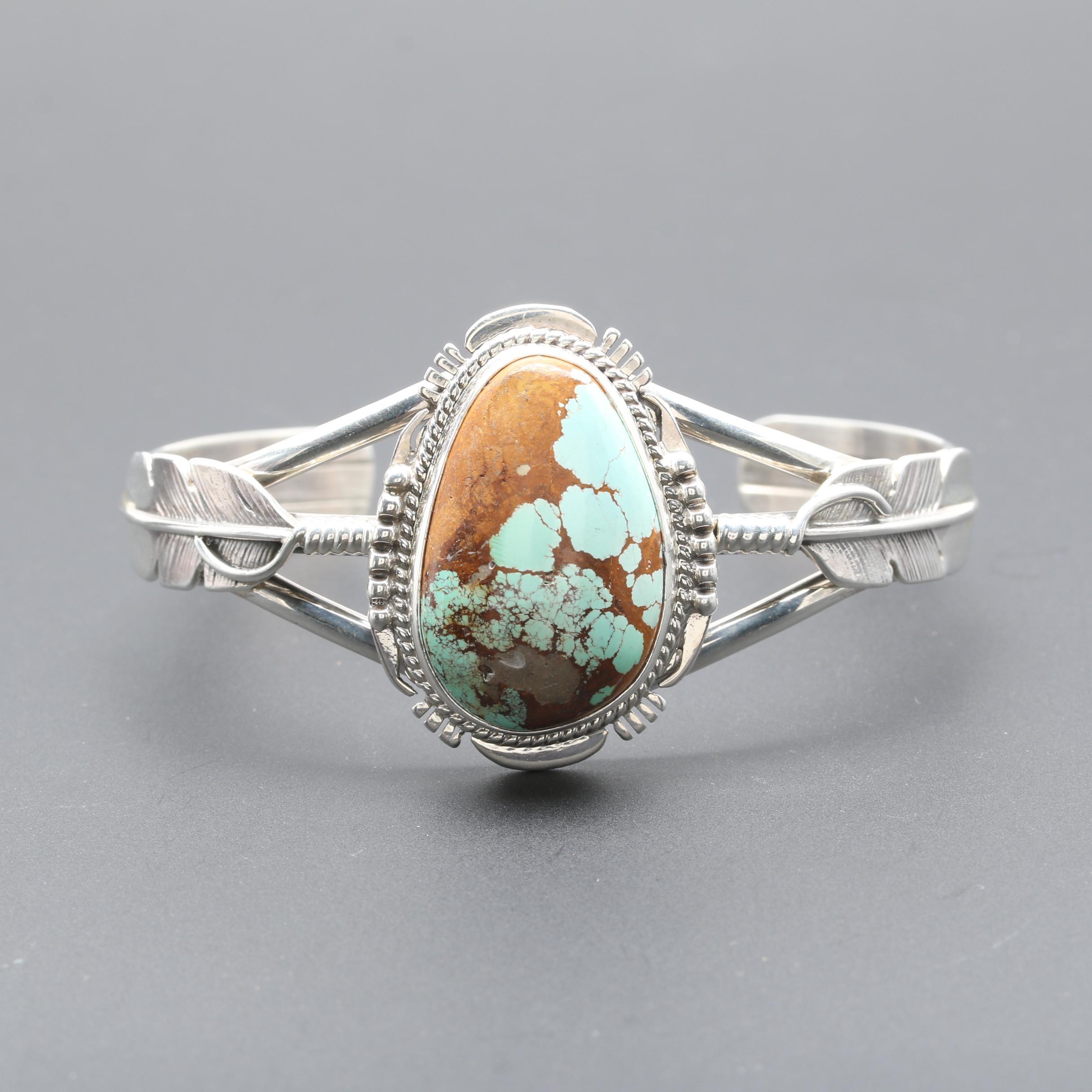 John Nelson Navajo Diné Sterling Silver Turquoise Cuff Bracelet