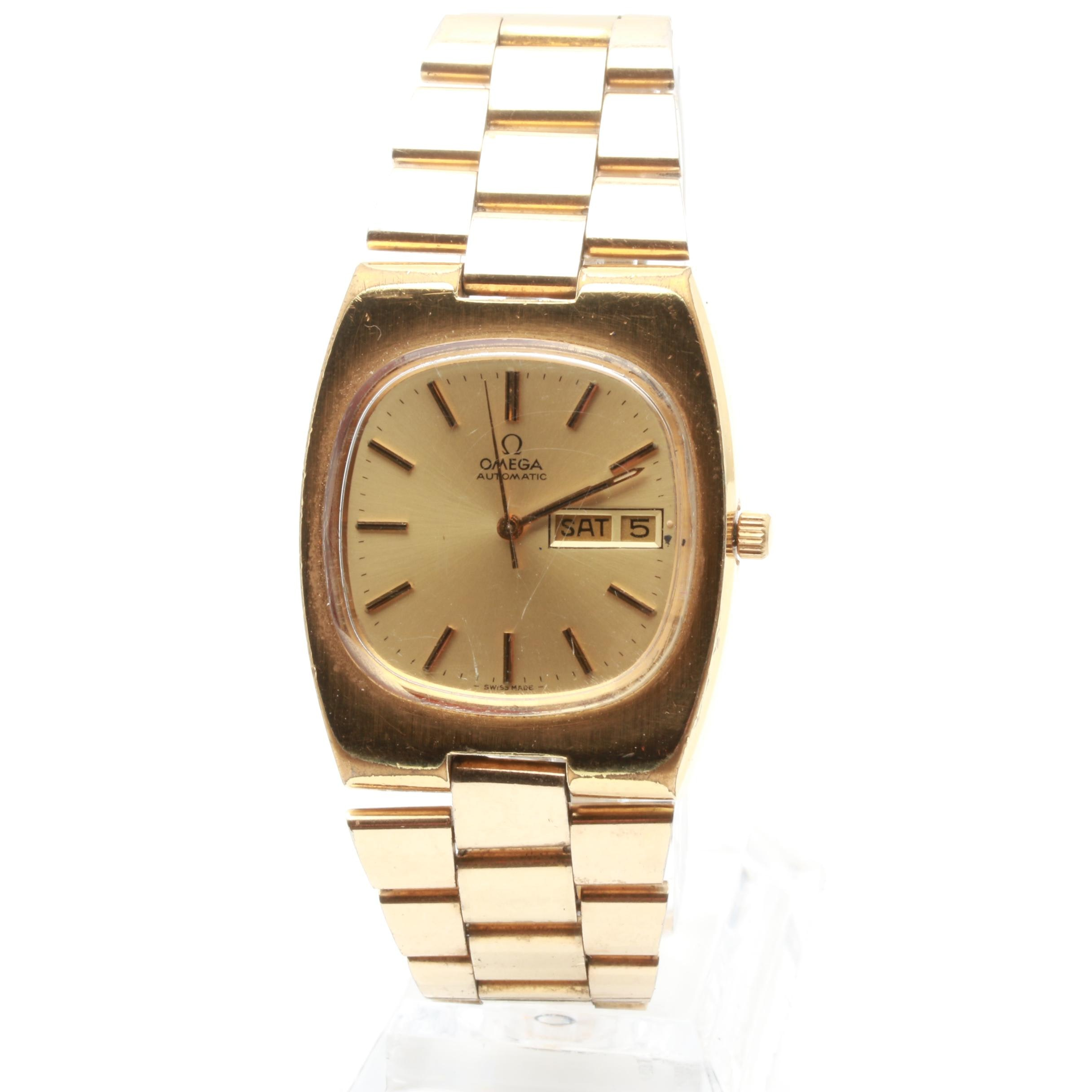 Omega 20 Micron Plated Stainless Steel Wristwatch with Date Window