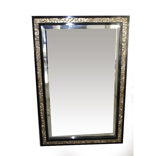 Black and Gold Tone Framed Wall Mirror