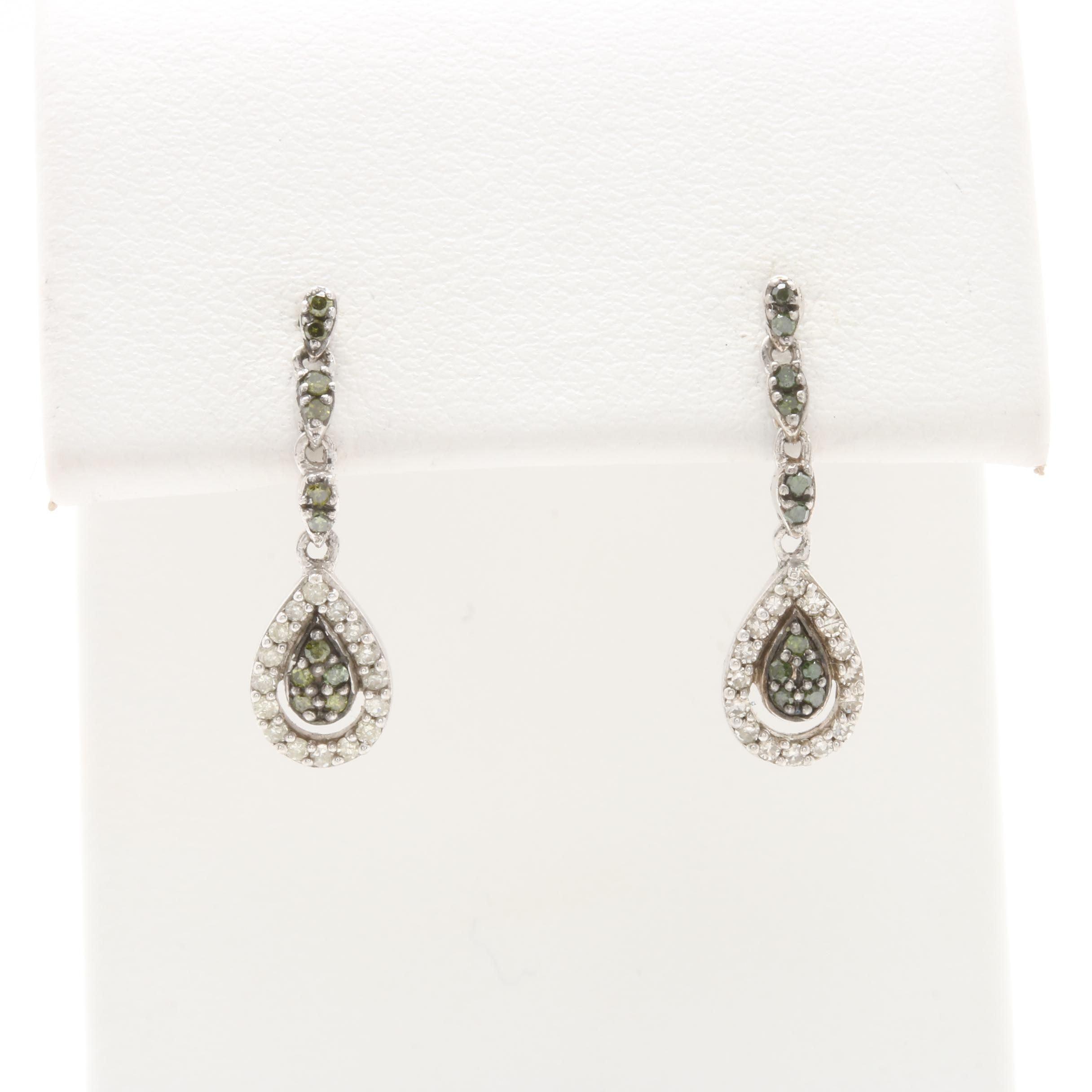 Sterling Silver Diamond Drop Earrings Featuring Green Diamonds