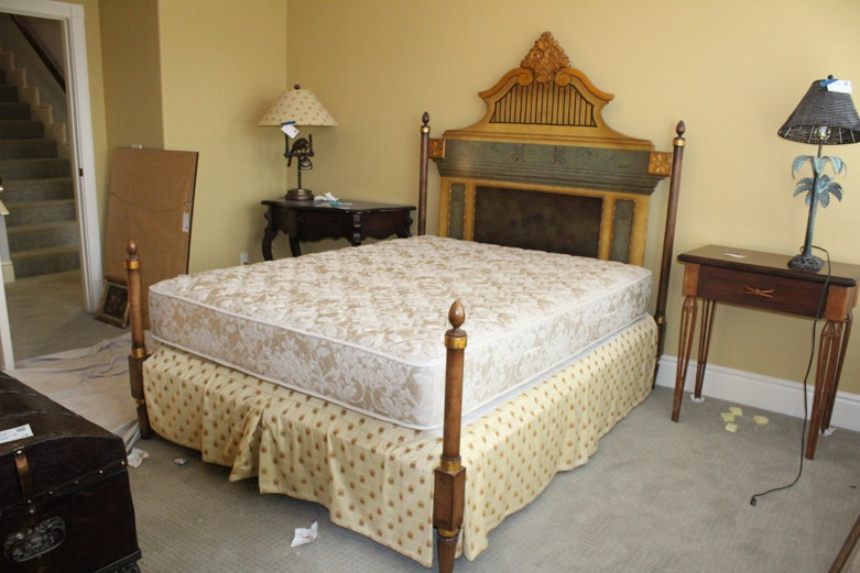 Baker Furniture Painted Queen Bed Frame