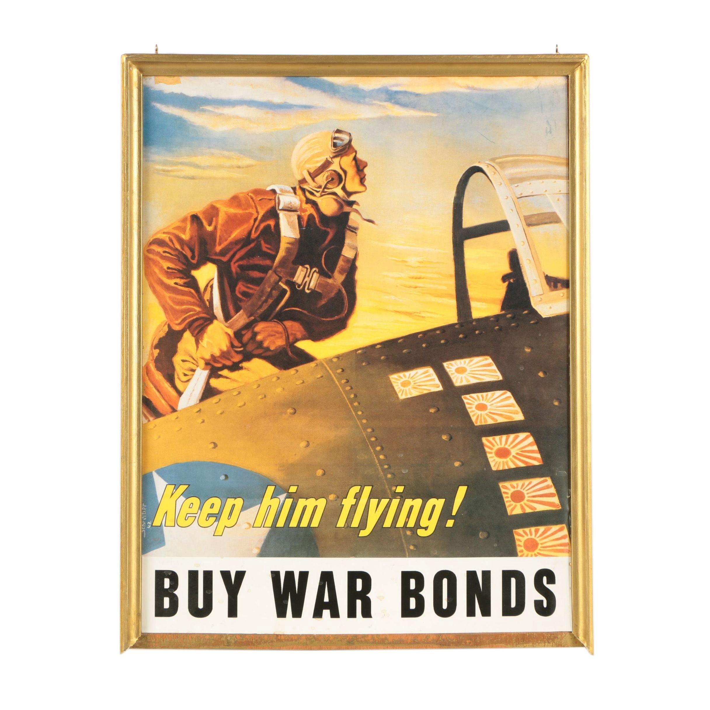 Offset Lithographic Reproduction Print of War Bonds Poster