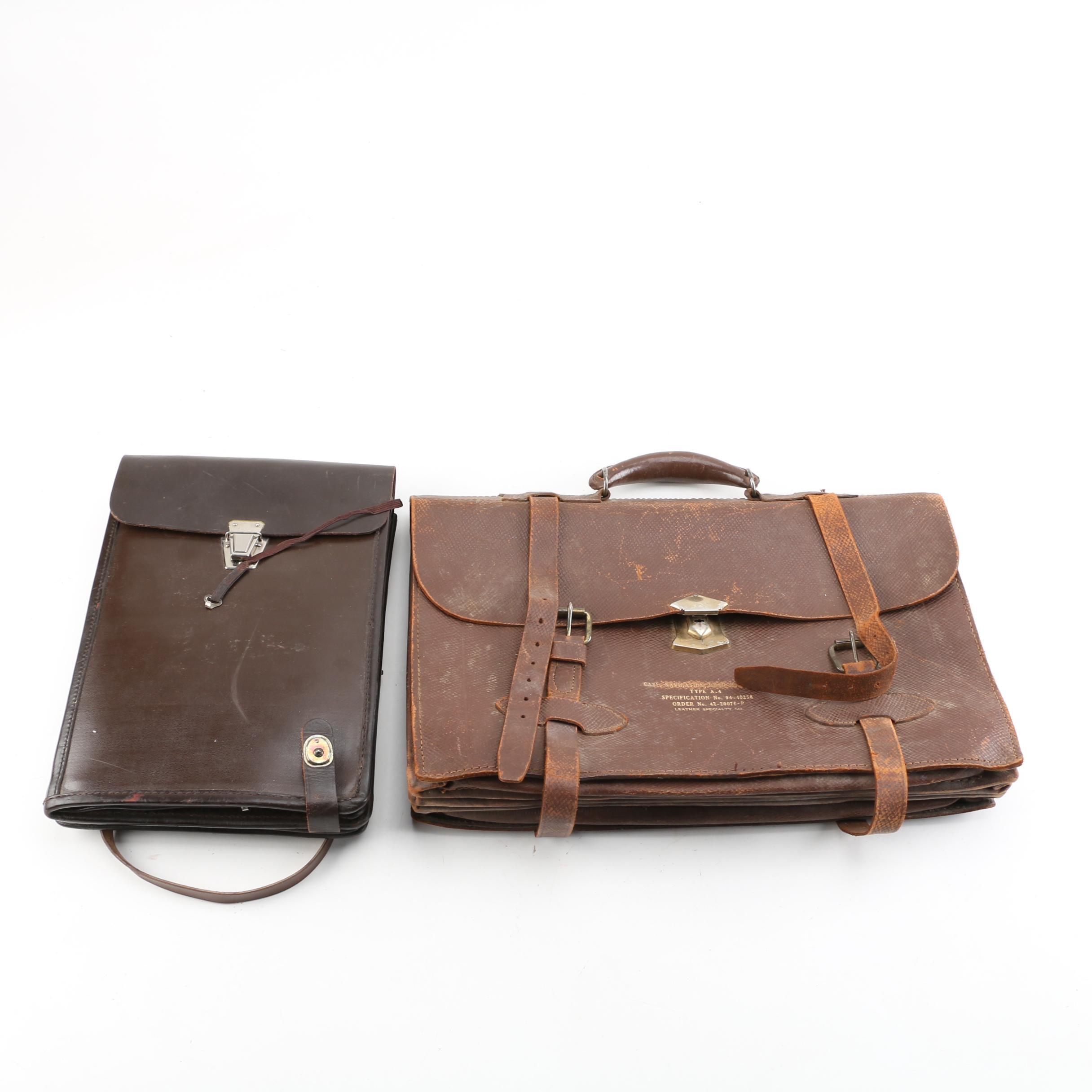 WWII USAAF Navigator Type A4 Leather Briefcase and Document Case