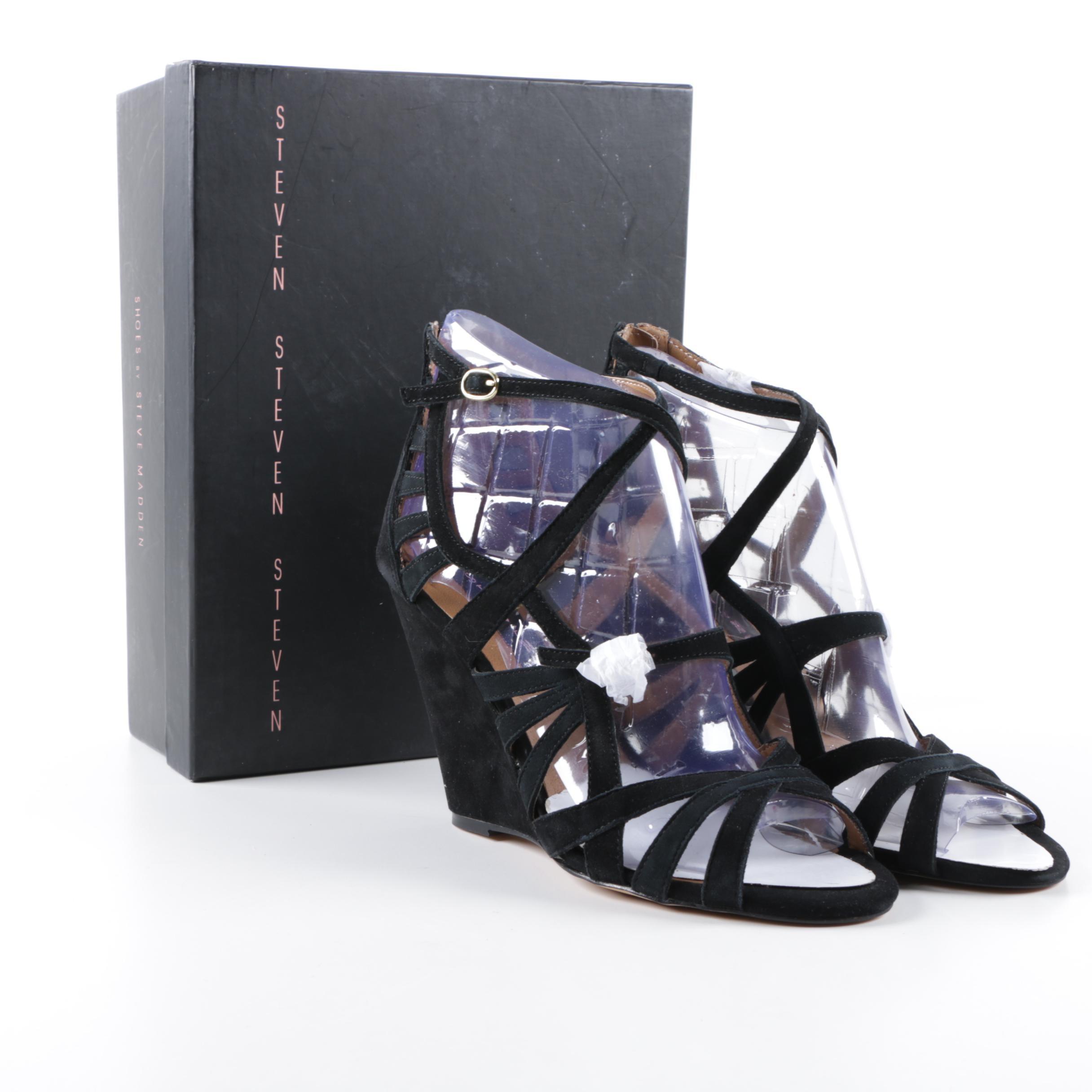 Women's Steven by Steve Madden Stellir Black Suede Wedge Sandals