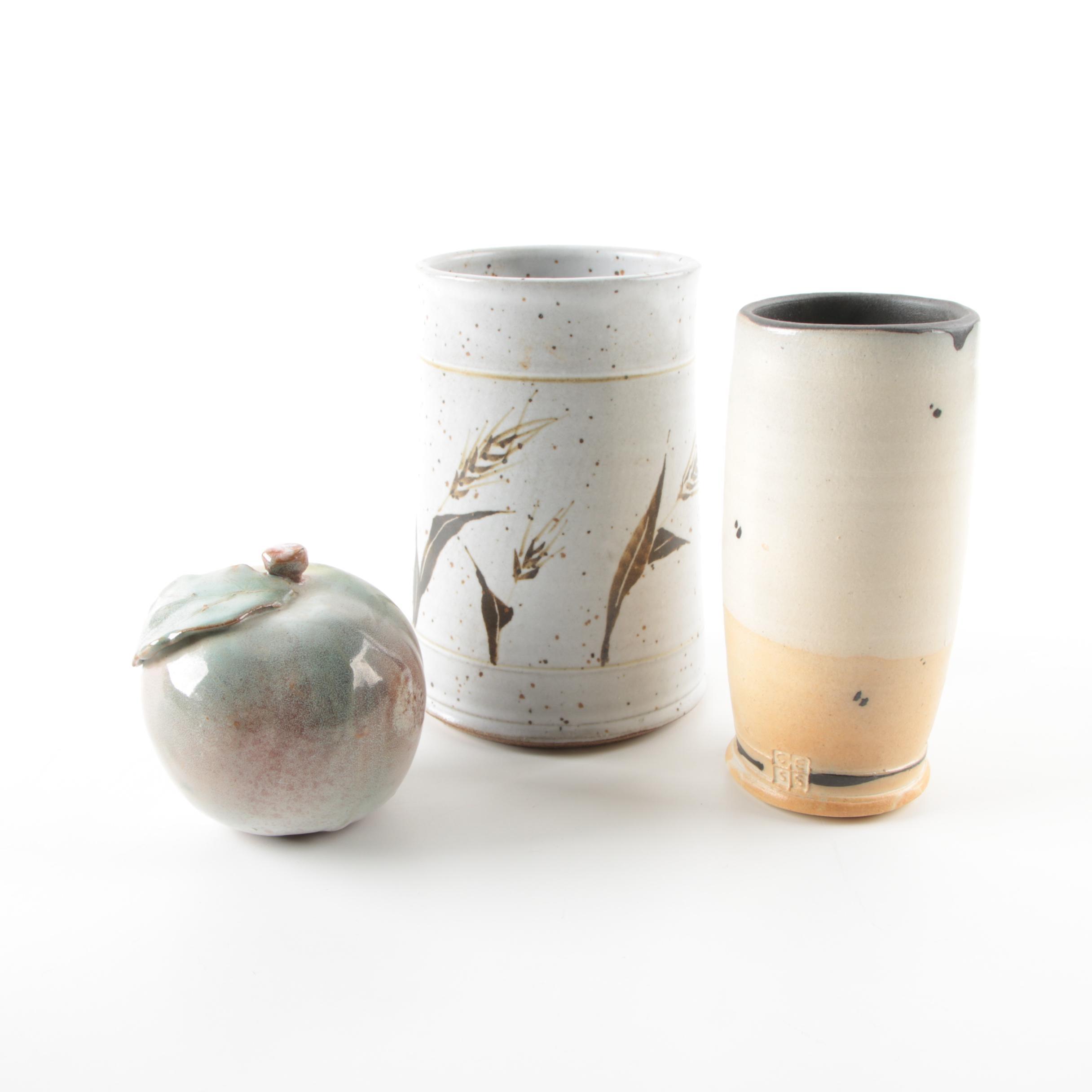 Hand-Thrown Stoneware Vases and Apple Figurine
