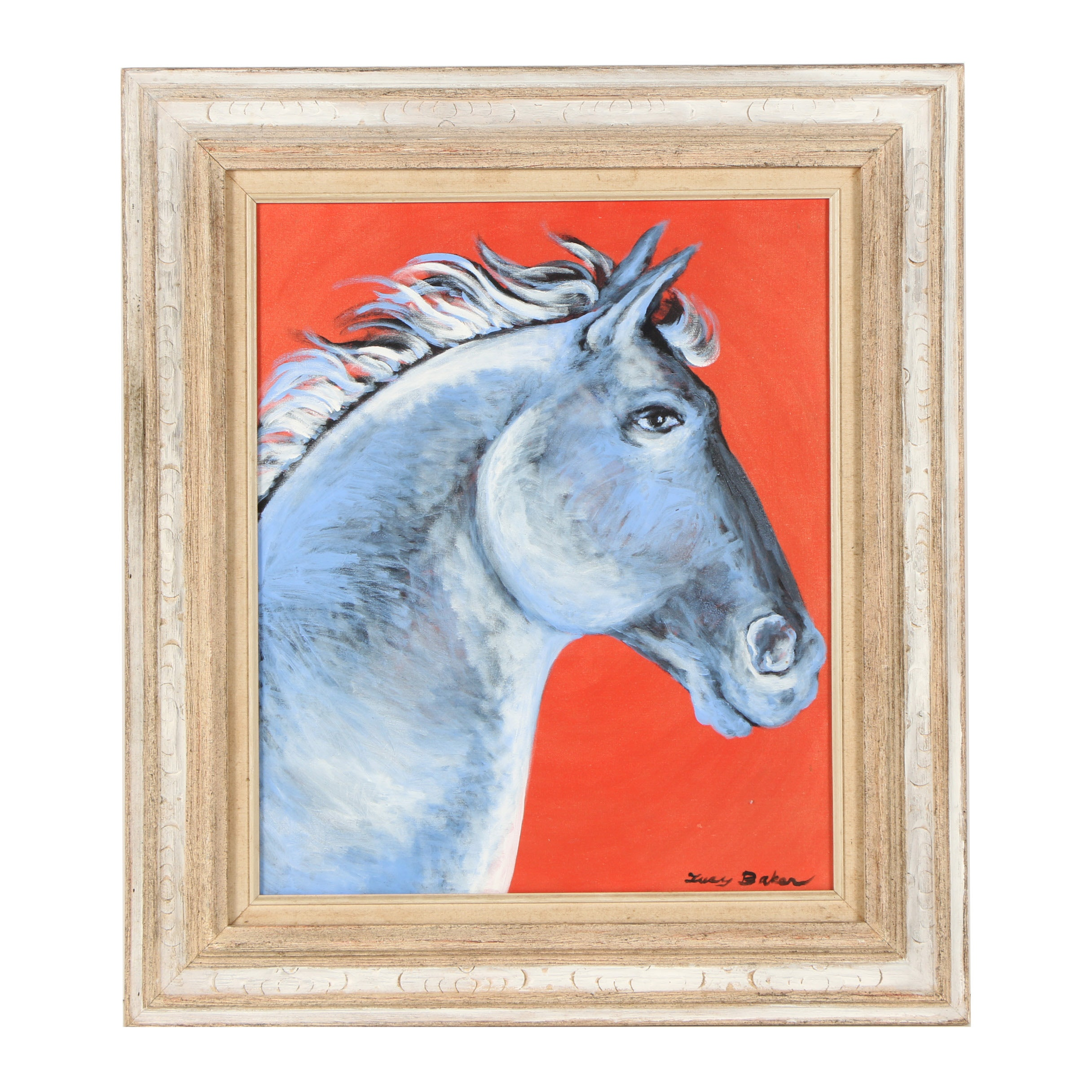 "Lucy Baker Acrylic Painting on Canvas ""Stallion"""