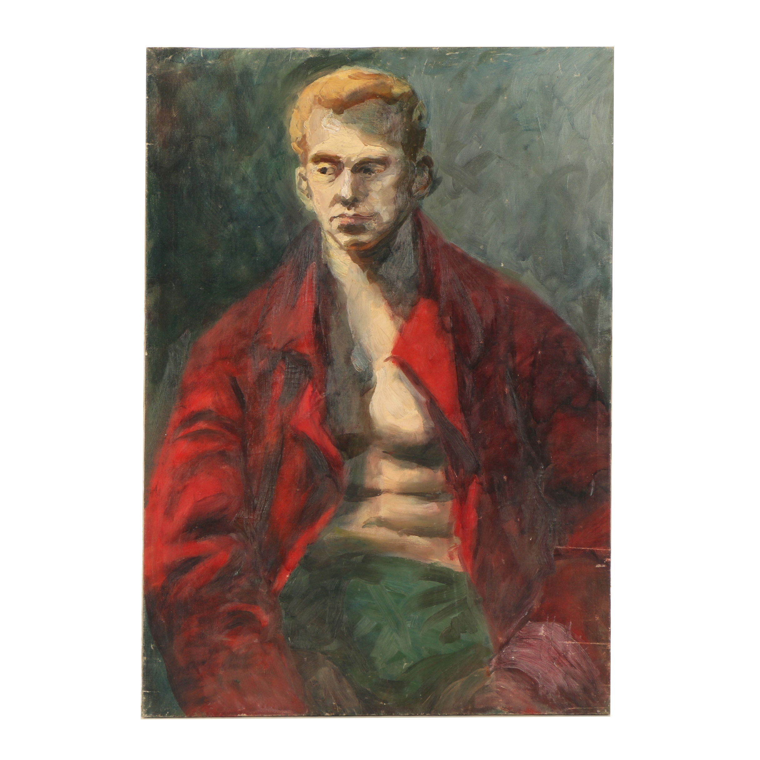Ashcan School Oil Portrait on Canvas of a Boxer