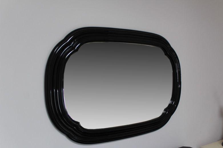 Molded Black Plastic Framed Wall Mirror