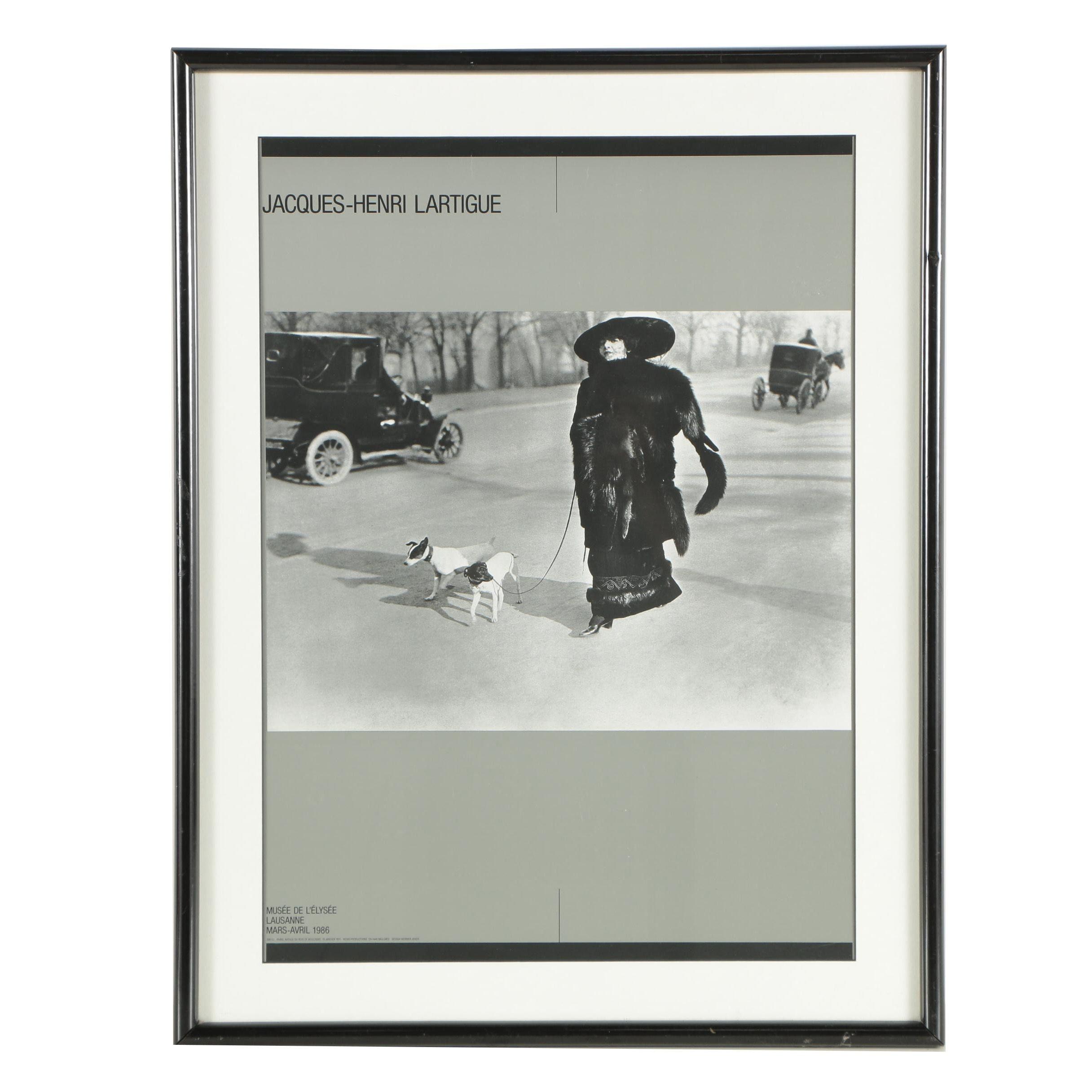 """Musée de l'Élysée 1986 Poster After Lartigue """"Avenue du Bois de Boulogne Paris"""""""