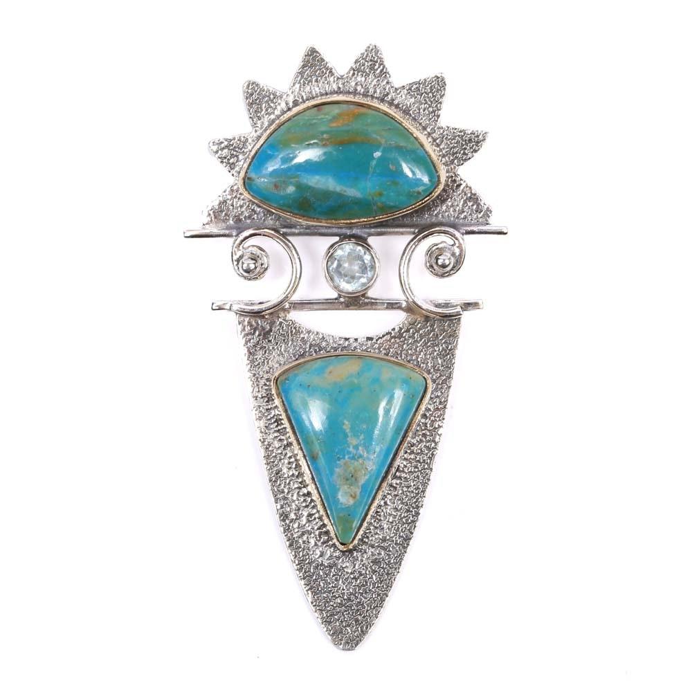 Sterling Silver Blue Freeform Opal and Blue Topaz Pendant