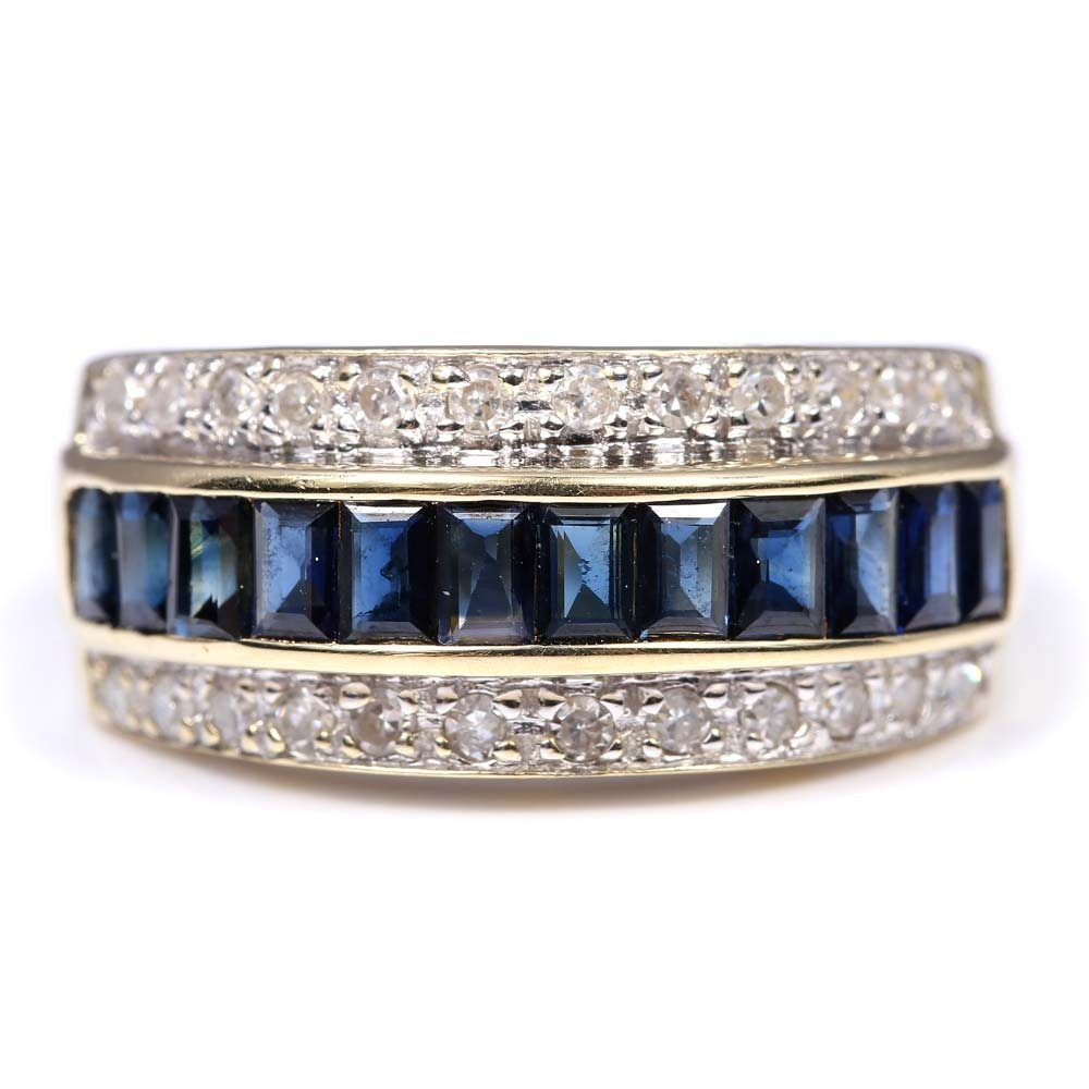 14K Yellow Gold 0.72 CTW Sapphire and Diamond Ring