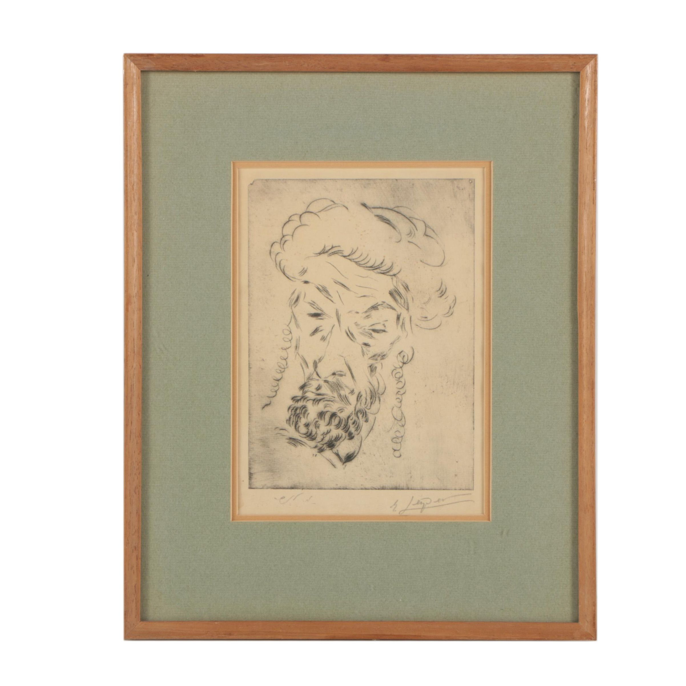 Leiper Mid-Century Etching of Male Portrait