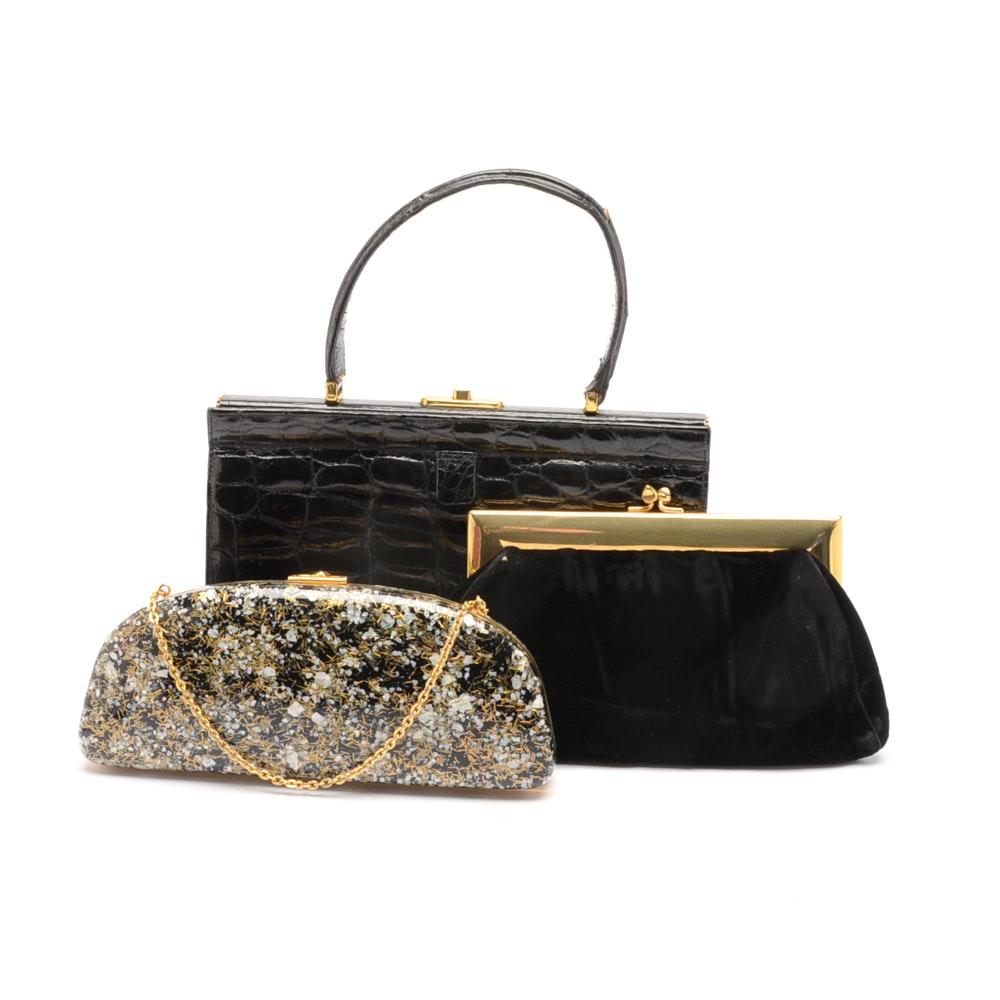Collection of Vintage Black Handbags Including Alligator