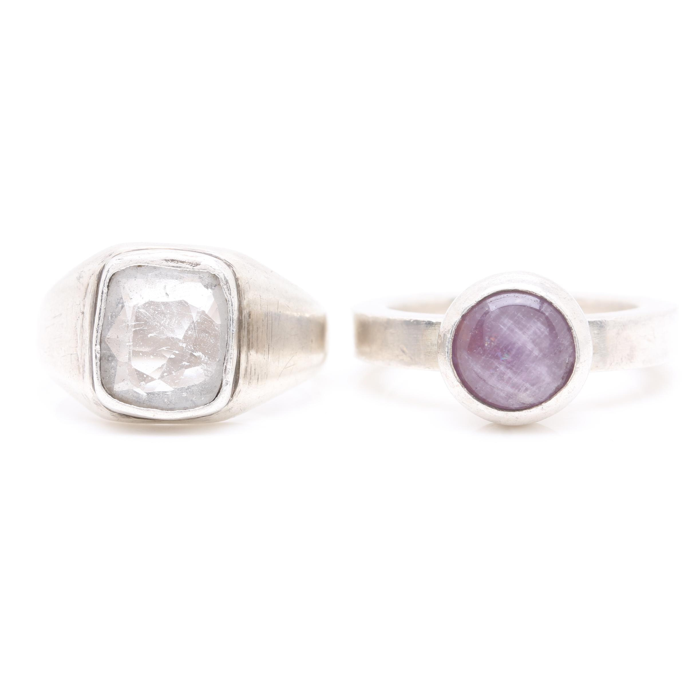 800 Silver and Sterling Silver Topaz and Amethyst Rings