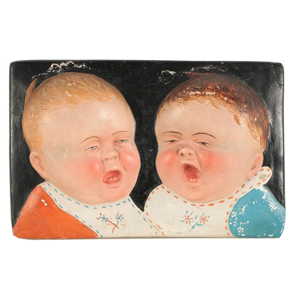 Plaster Bas-Relief Baby Image Wall Plaque