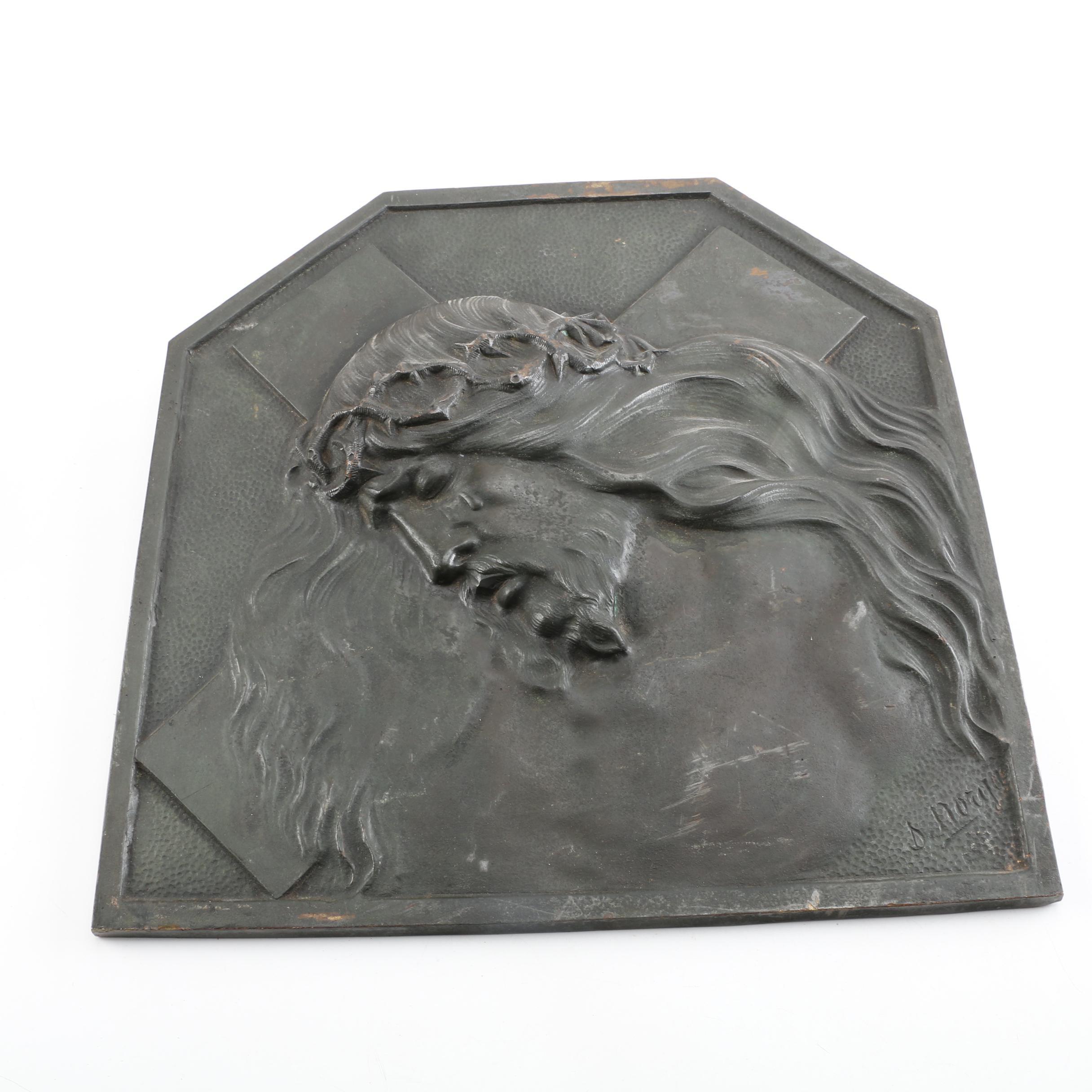 Signed Metal Relief of Jesus Christ