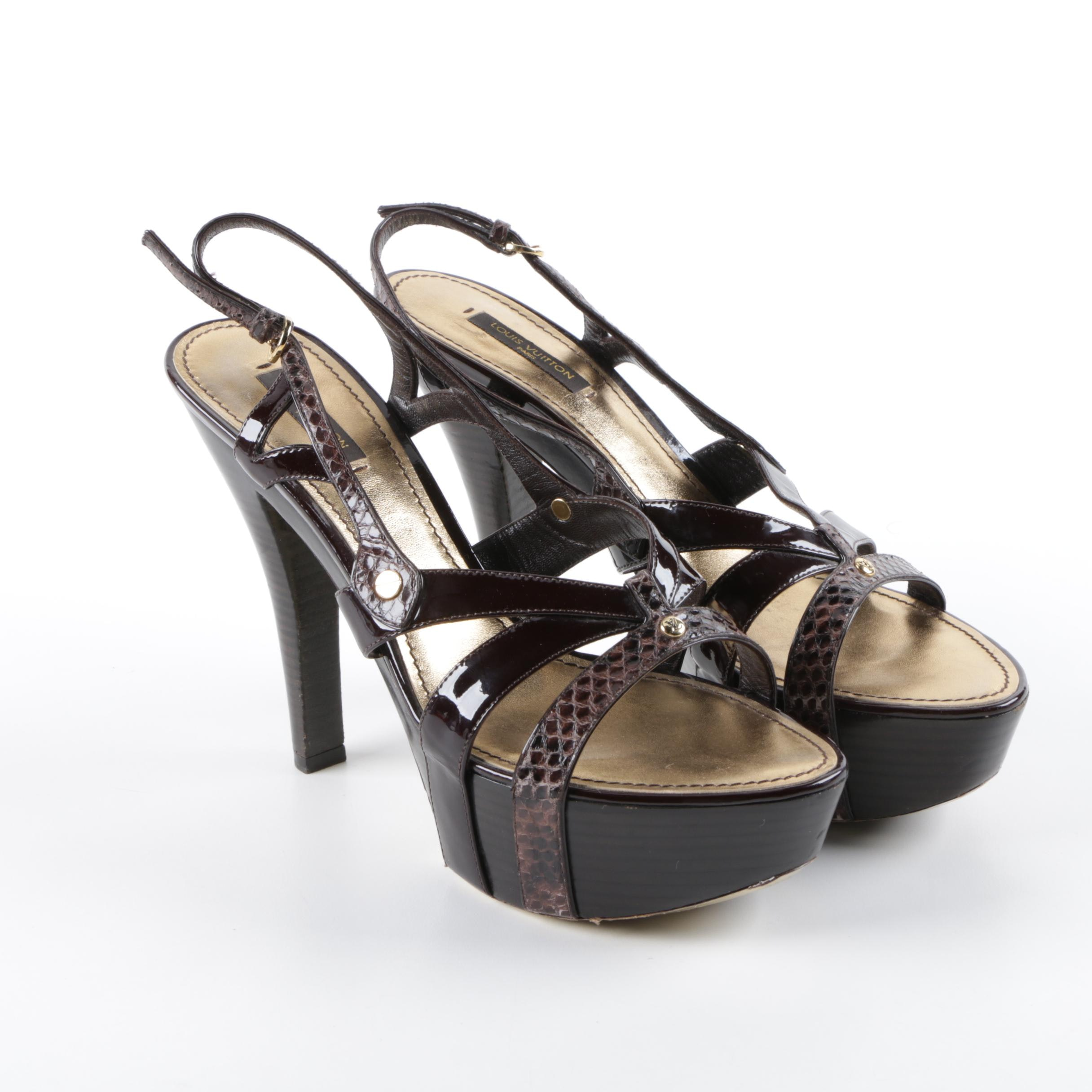 Louis Vuitton of Paris Dyed Brown Python Skin and Patent Leather Platform Heels