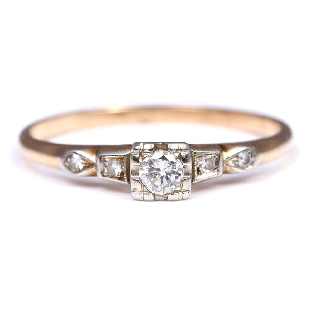 14K Yellow Gold and  18K White Gold Diamond Ring