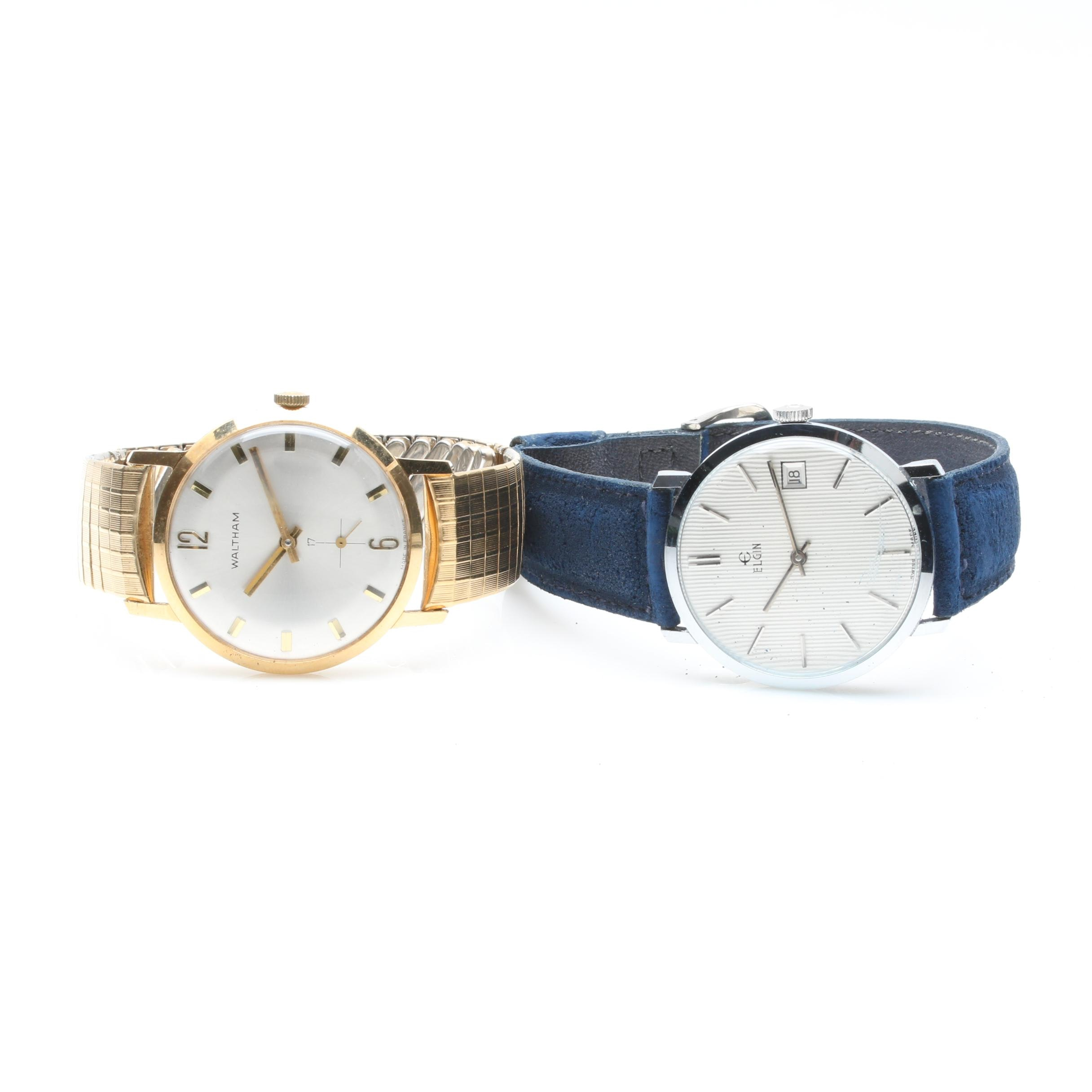 Elgin and Waltham Stainless Steel and Gold Tone Wristwatches