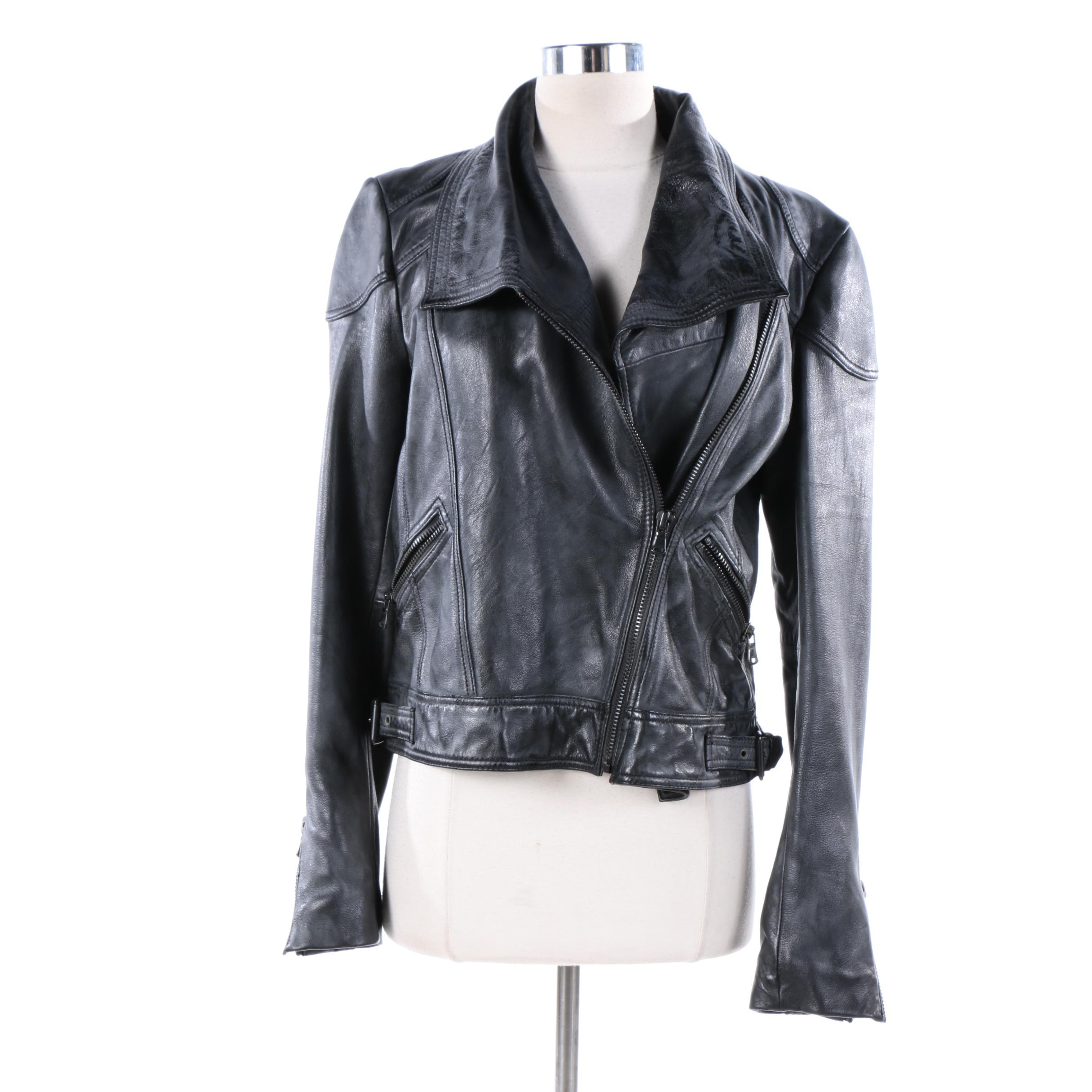 Women's Black Rivet Leather Motorcycle Jacket