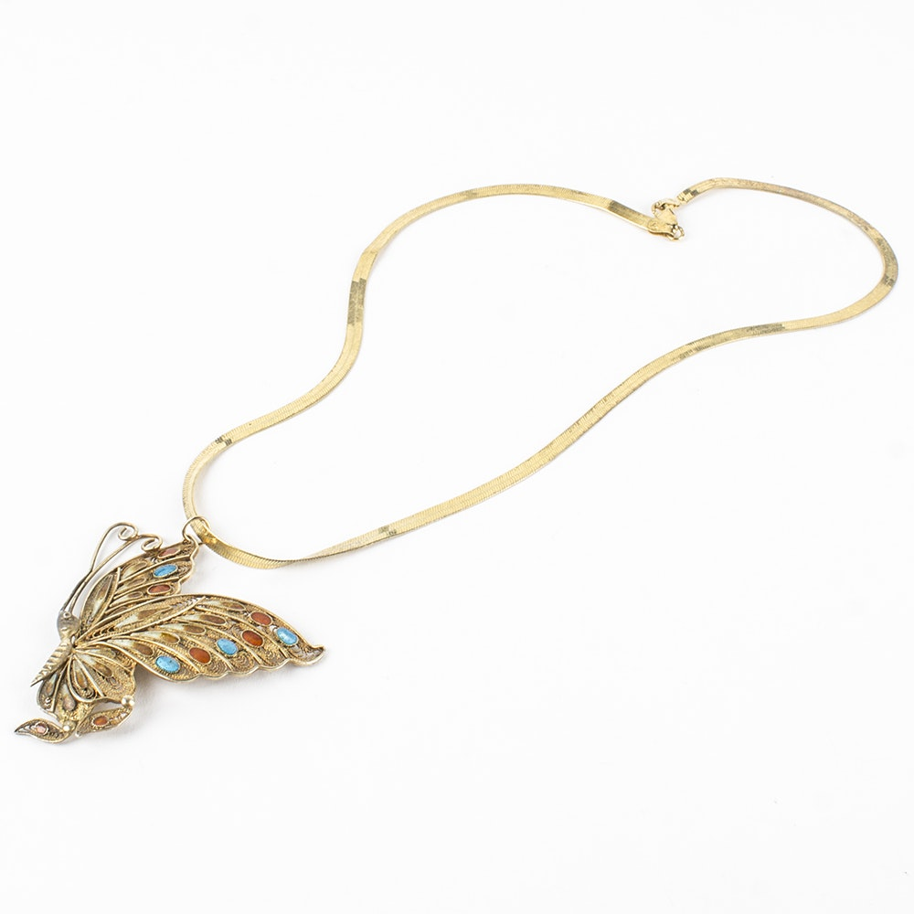 Milor Sterling Silver and Silver Gold Wash Butterfly Necklace