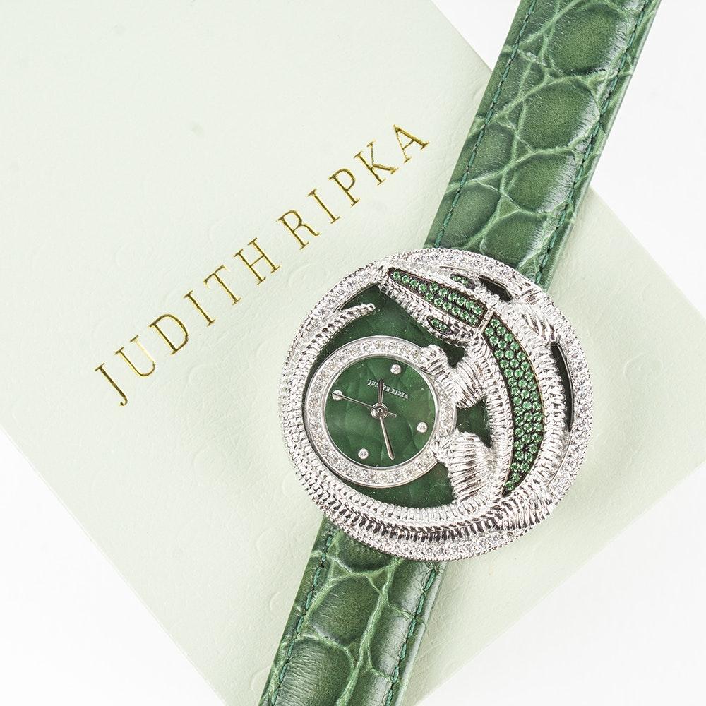 Judith Ripka Stainless Steel Alligator Charlotte Wristwatch