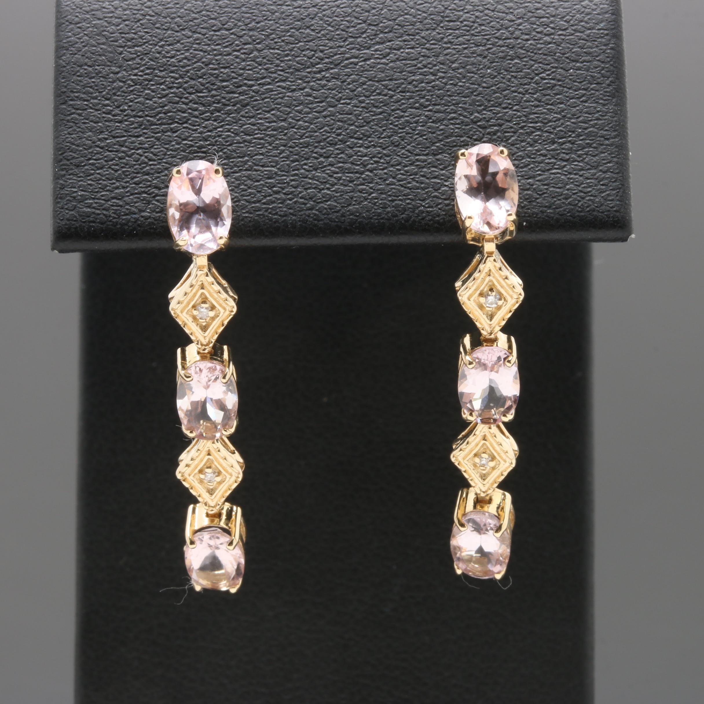 14K Yellow Gold Morganite and Diamond Earrings