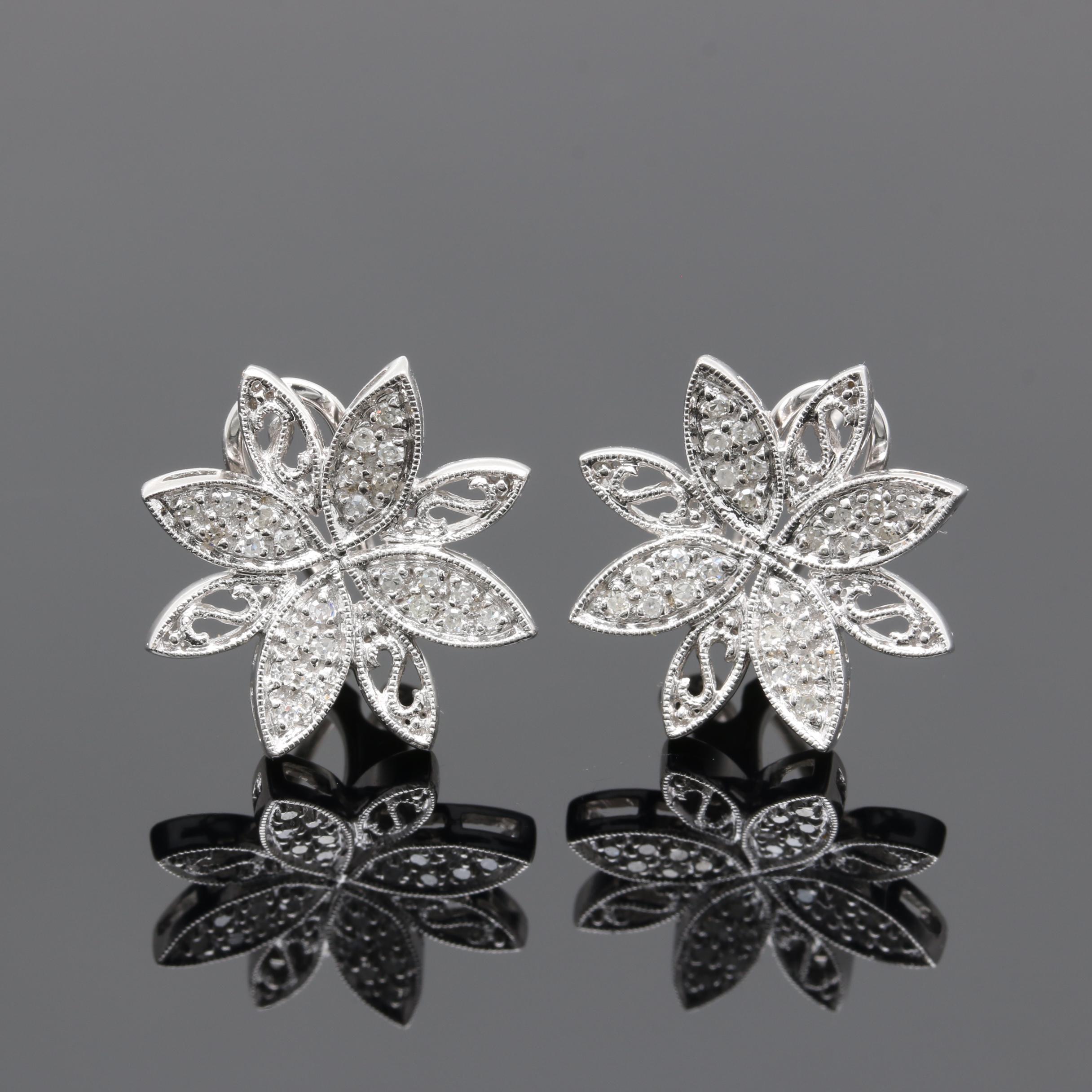 14K White Gold Diamond Flower Motif Earrings