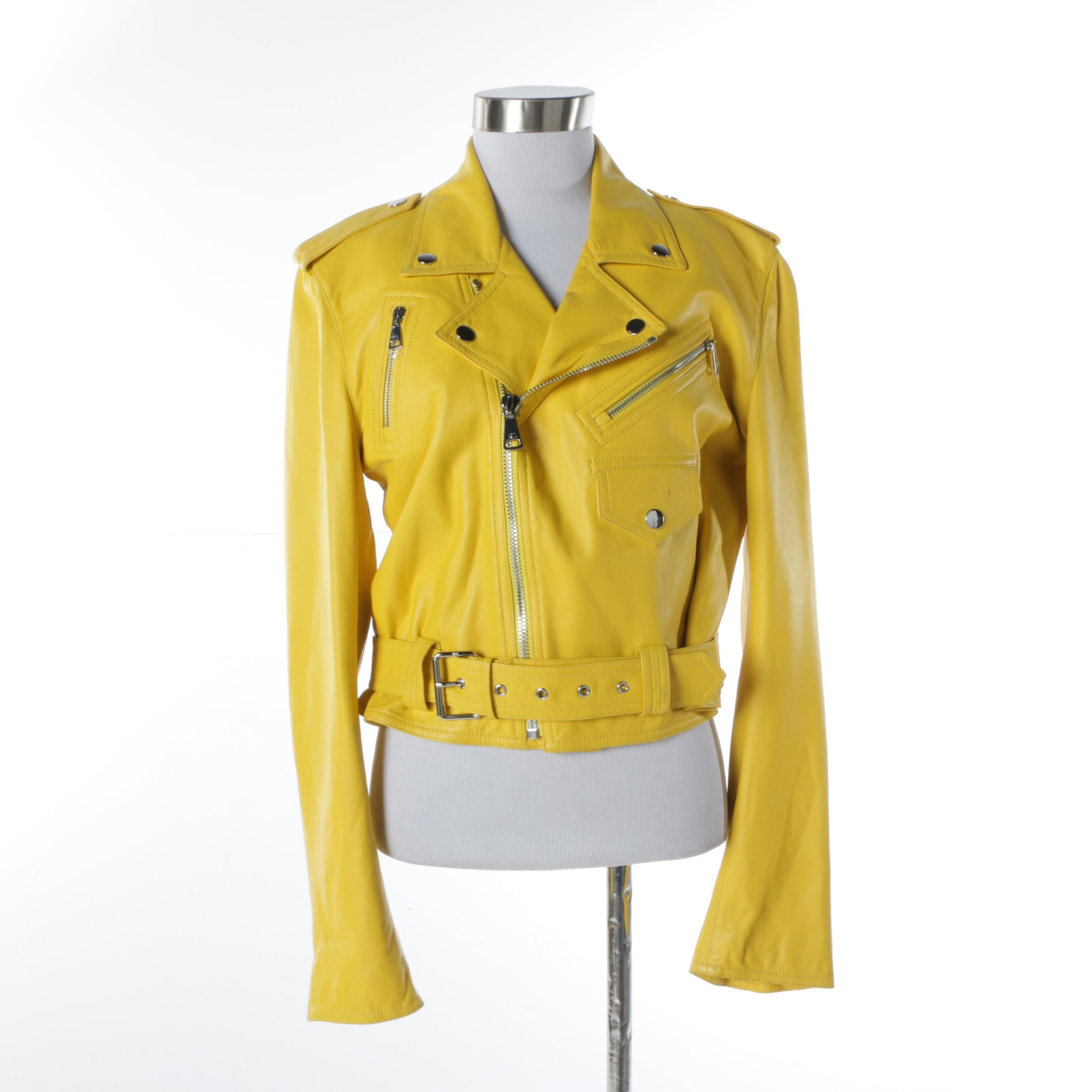 Ralph Lauren Collection Purple Label Yellow Lambskin Motorcycle Jacket