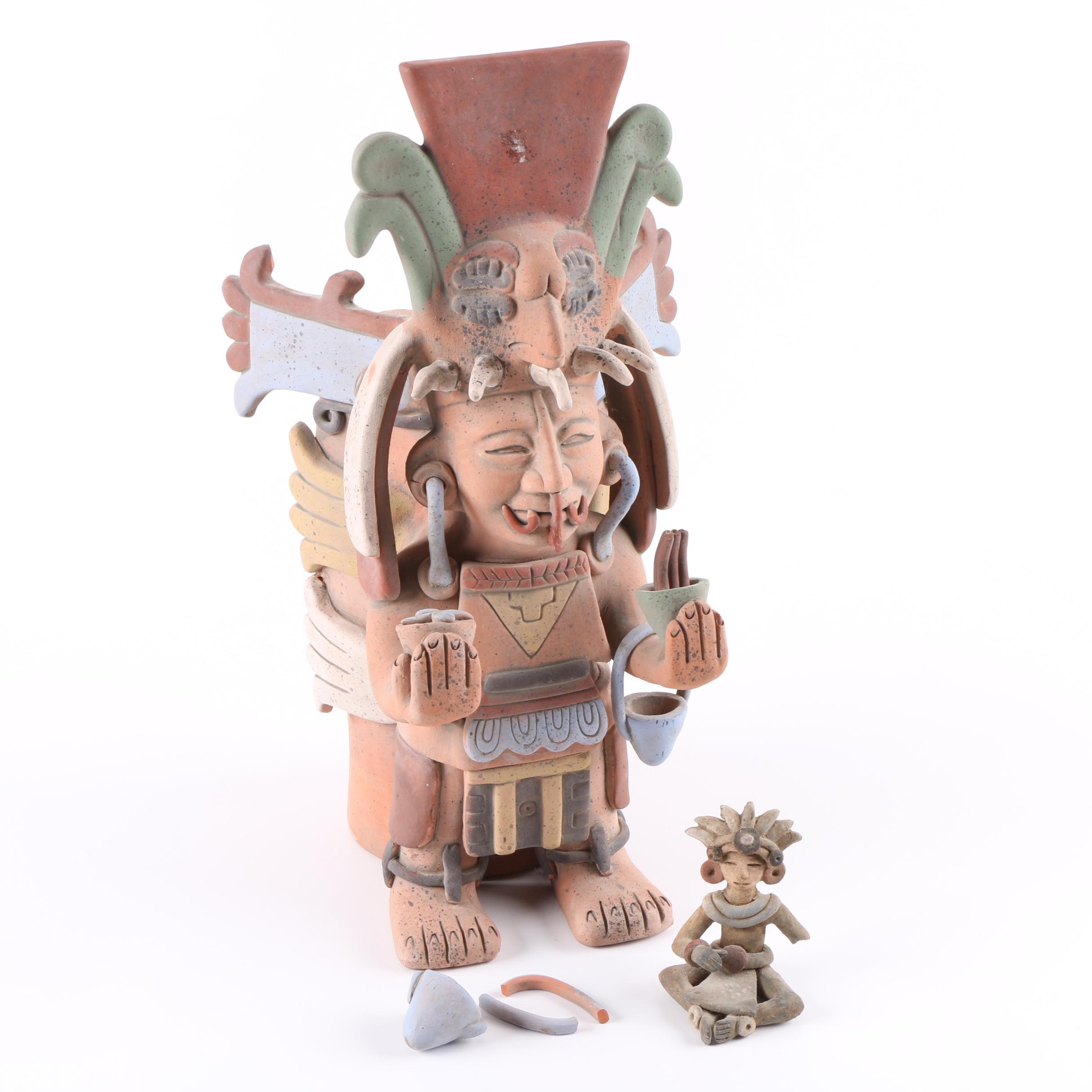 INAH Mexico Reproduction Mesoamerican Pottery and Figure