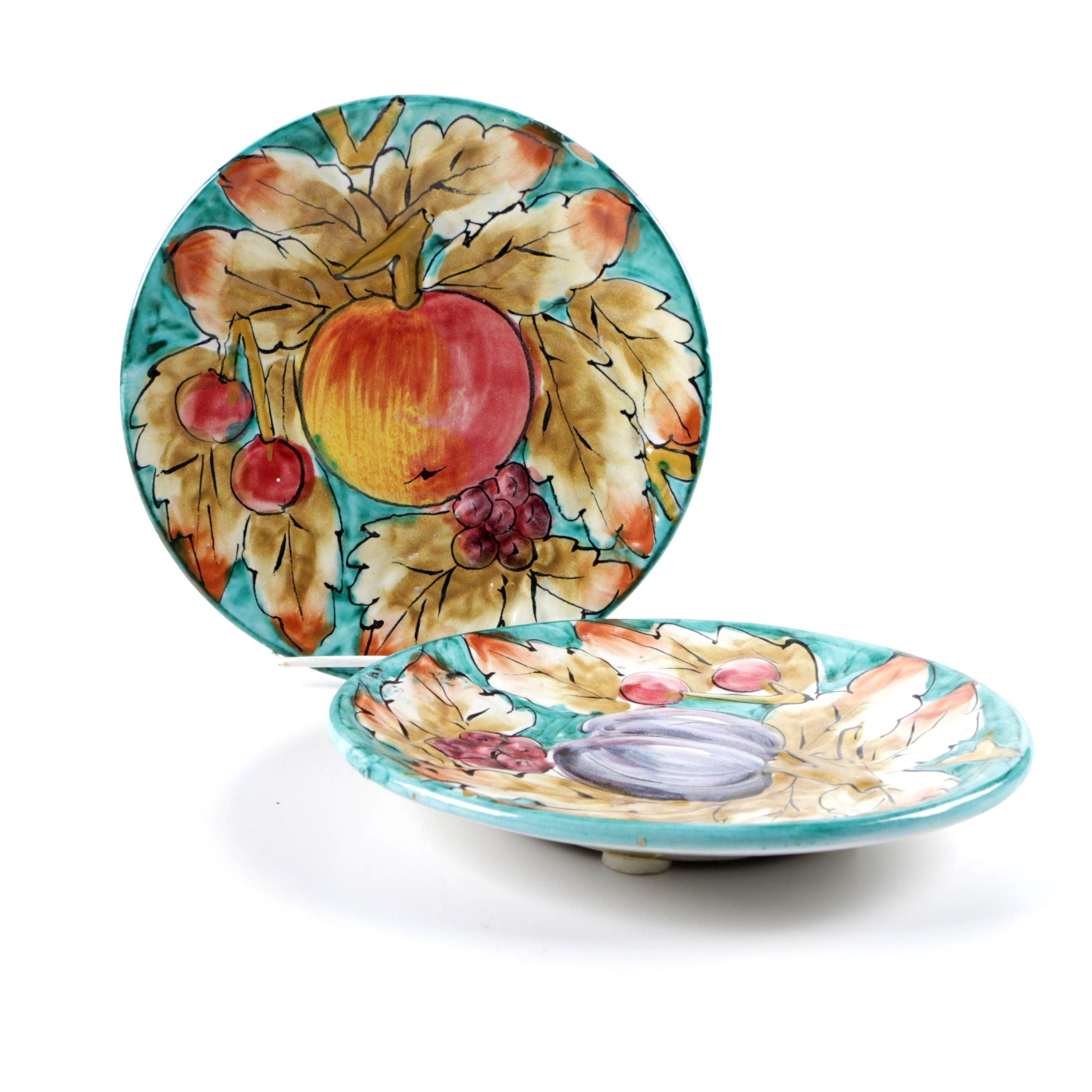 Colorful Italian Fruit and Leaves Salad Plates