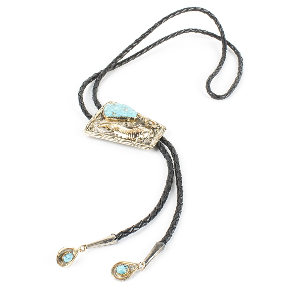 Sterling Silver Turquoise and Leather Bolo Tie