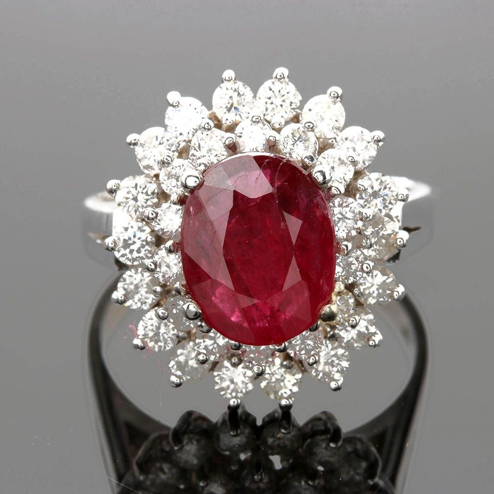 14K White Gold 1.70 CT Ruby and 1.23 CTW Diamond Ring