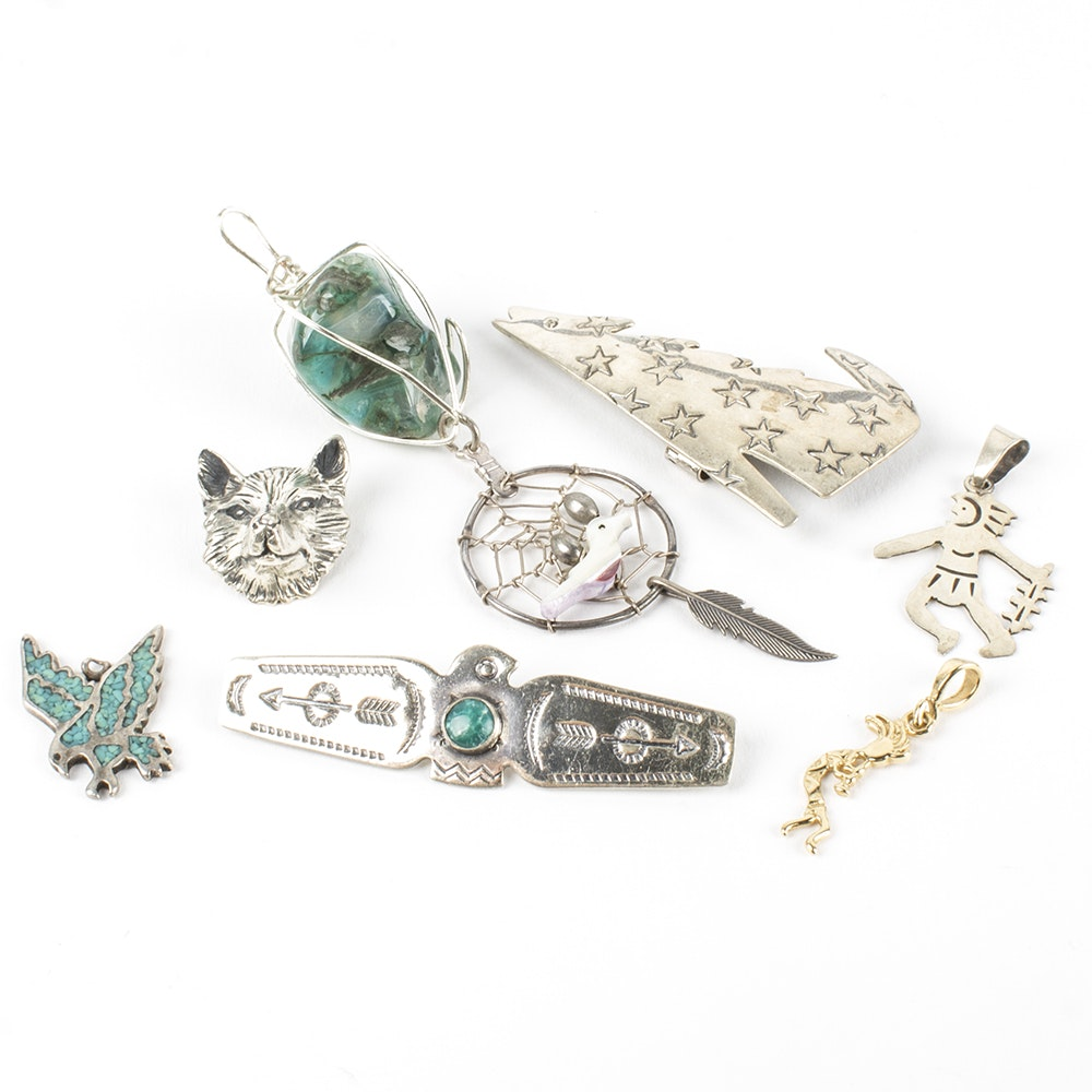Southwestern Style Sterling Silver Pendants and Pins Including Kabana Shop