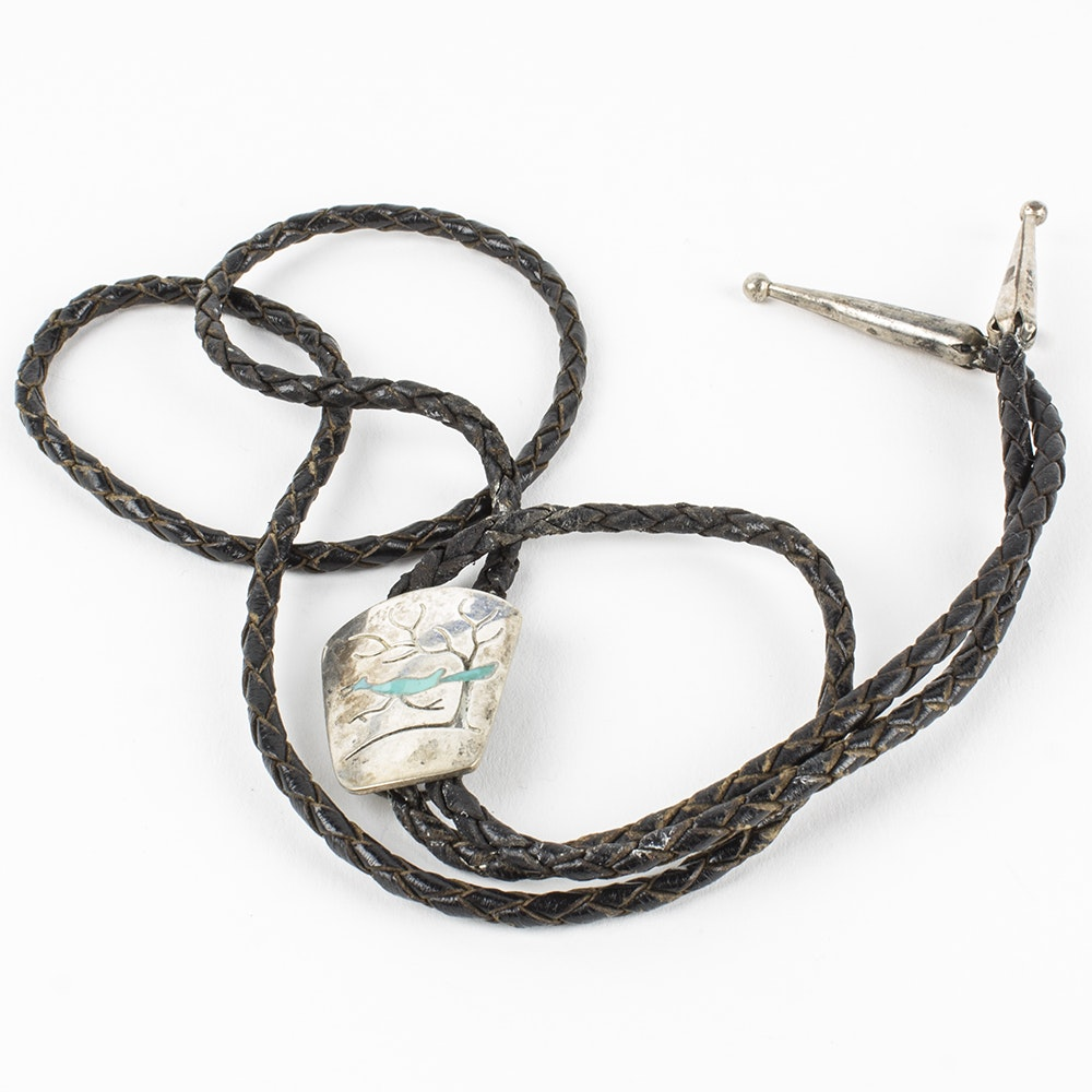 Sterling Silver Bolo Tie With Inlaid Turquoise