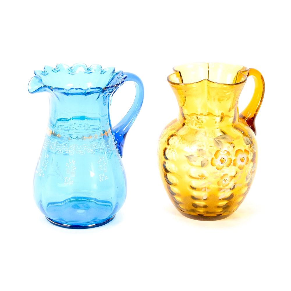 Pair of Art Glass Pitchers