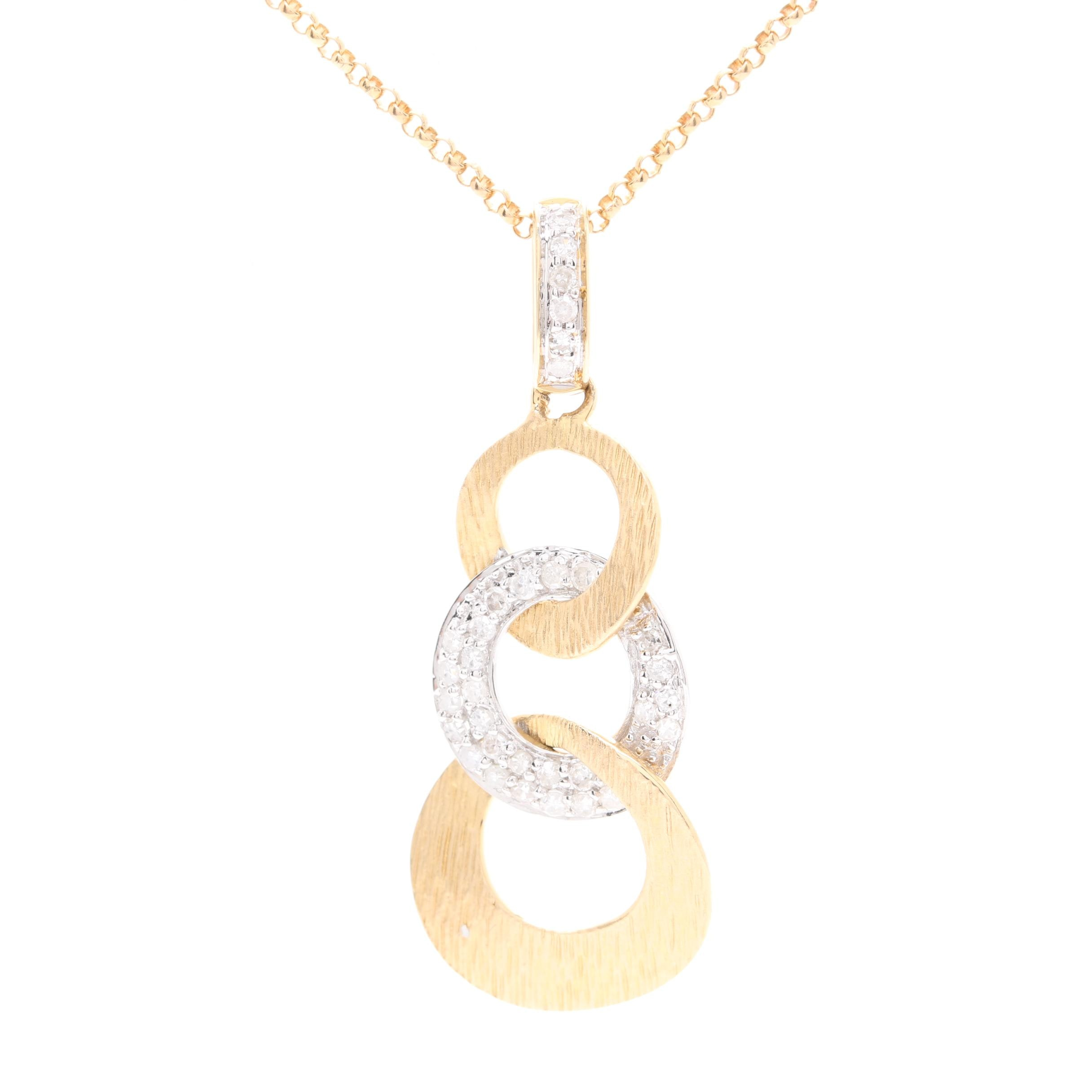 14K Yellow and White Gold Diamond Pendant Necklace