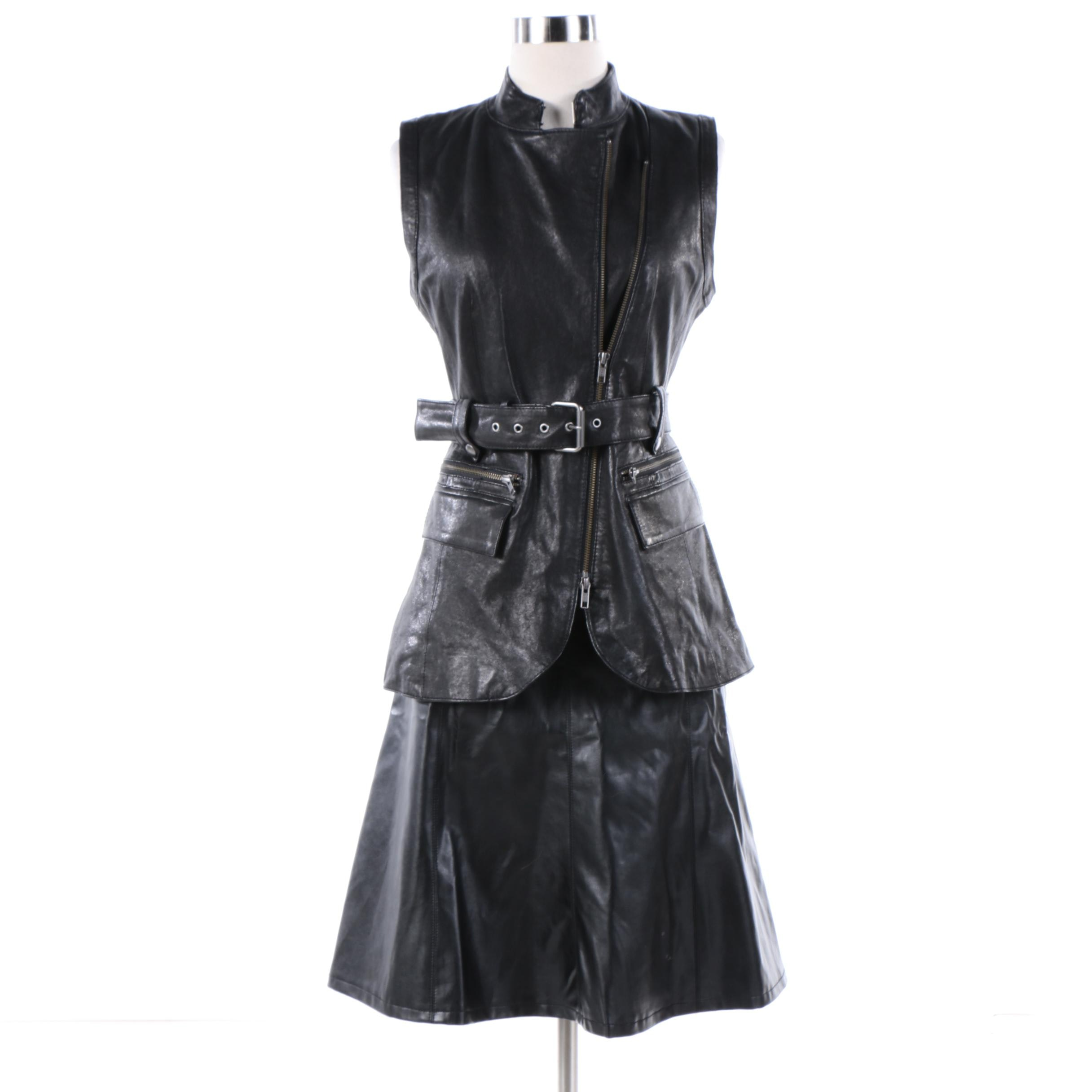 Rachel Zoe Black Leather Vest with Dennis by Dennis Basso Faux Leather Skirt