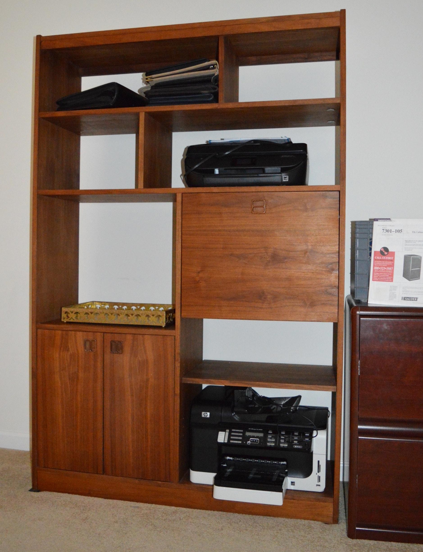 Vintage Teak Veneer Wall Unit and Office Supplies